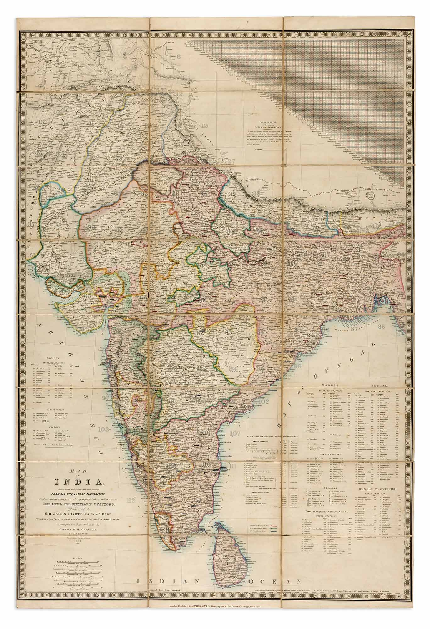 Lot image - [INDIA-MAP]  WYLD, JAMES (publisher). Map of India, Constructed with great care and research from all the latest authorities and intended more particularly to facilitate a reference to the Civil and Military Stations.