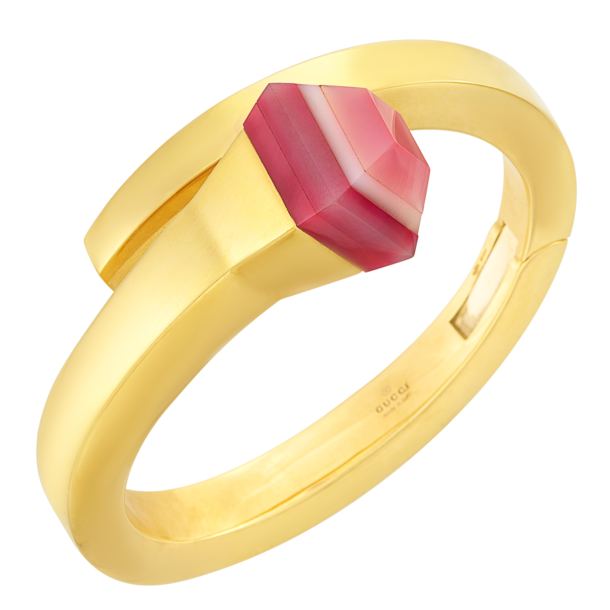 Lot image - Gold and Pink Agate Nail Bangle Bracelet, Gucci