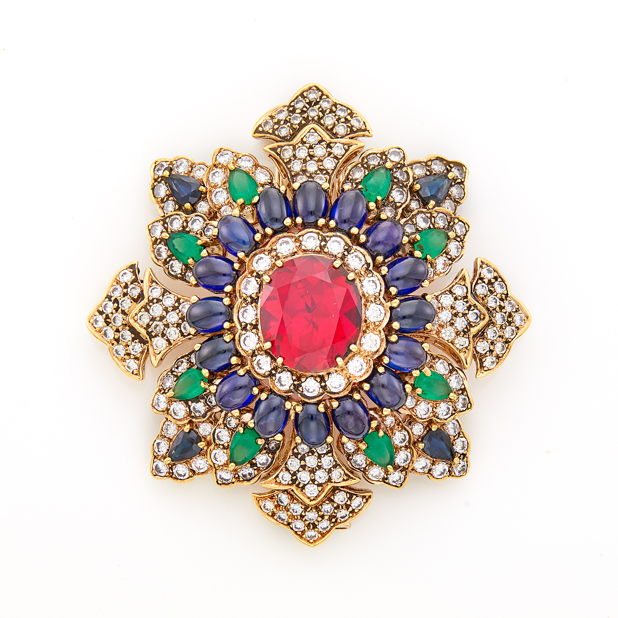Lot image - Gold, Synthetic Colored-Stone and Cubic Zirconia Brooch
