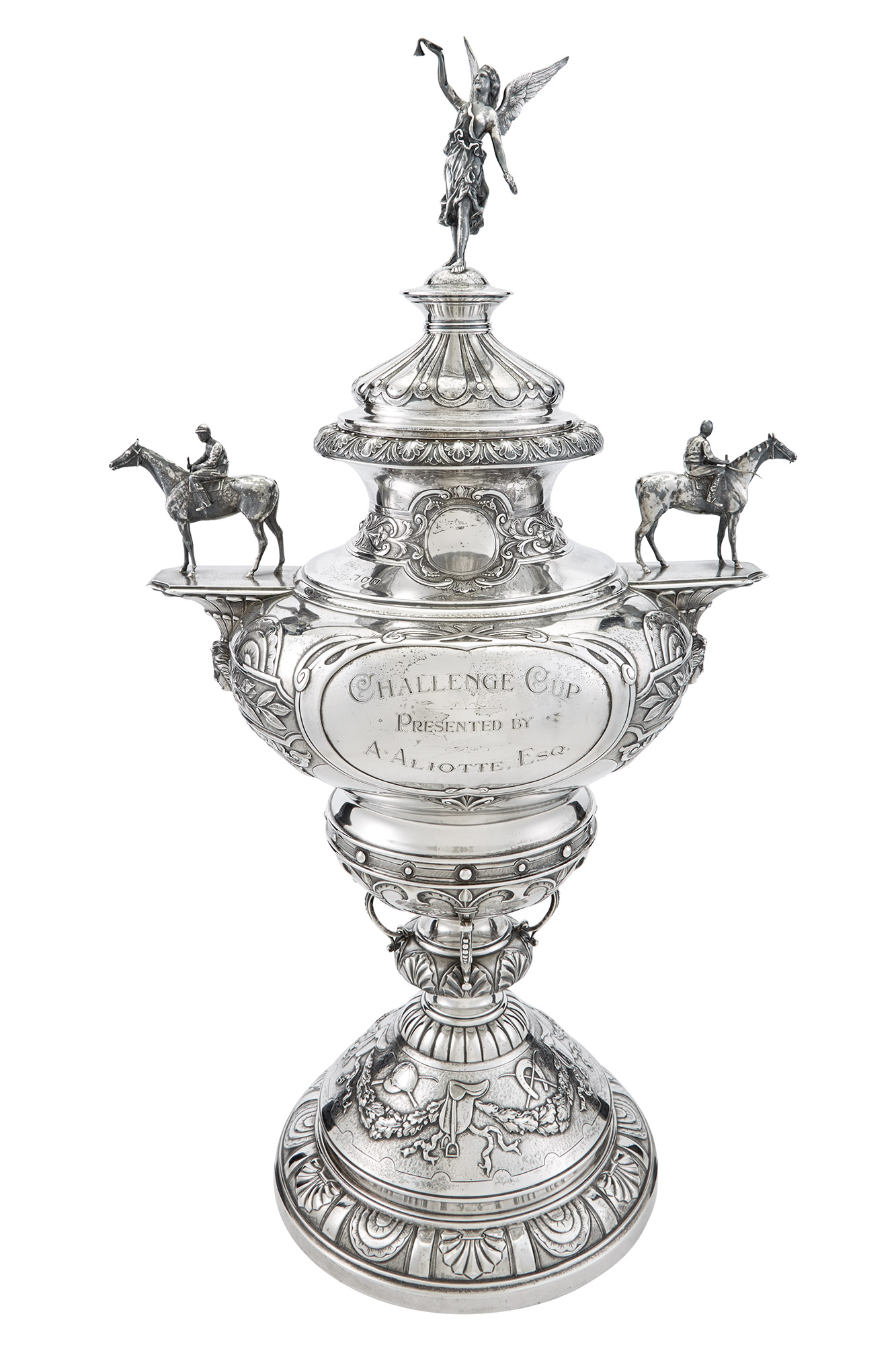 Lot image - English Sterling Silver Horse Racing Trophy