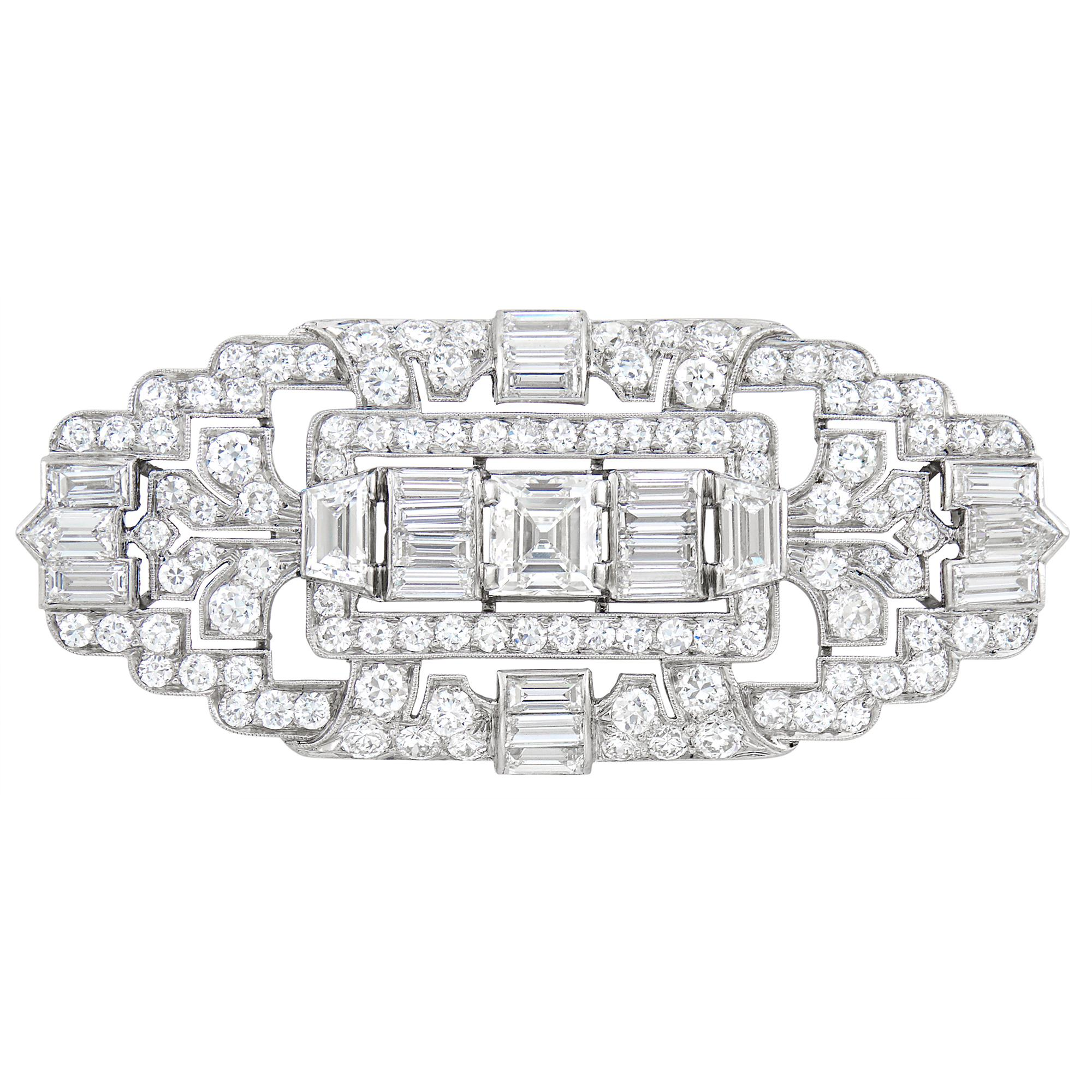 Lot image - Platinum and Diamond Brooch, Tiffany & Co.