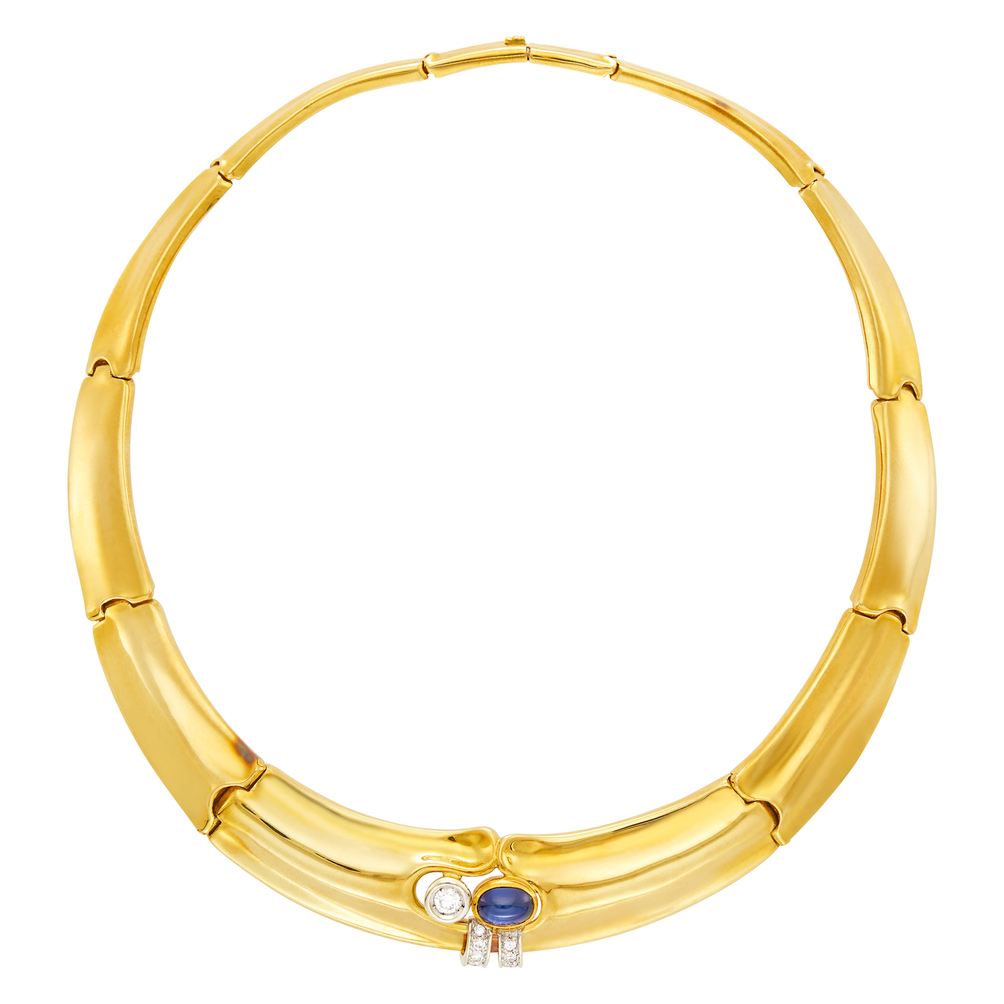 Lot image - Gold, Diamond and Cabochon Sapphire Necklace