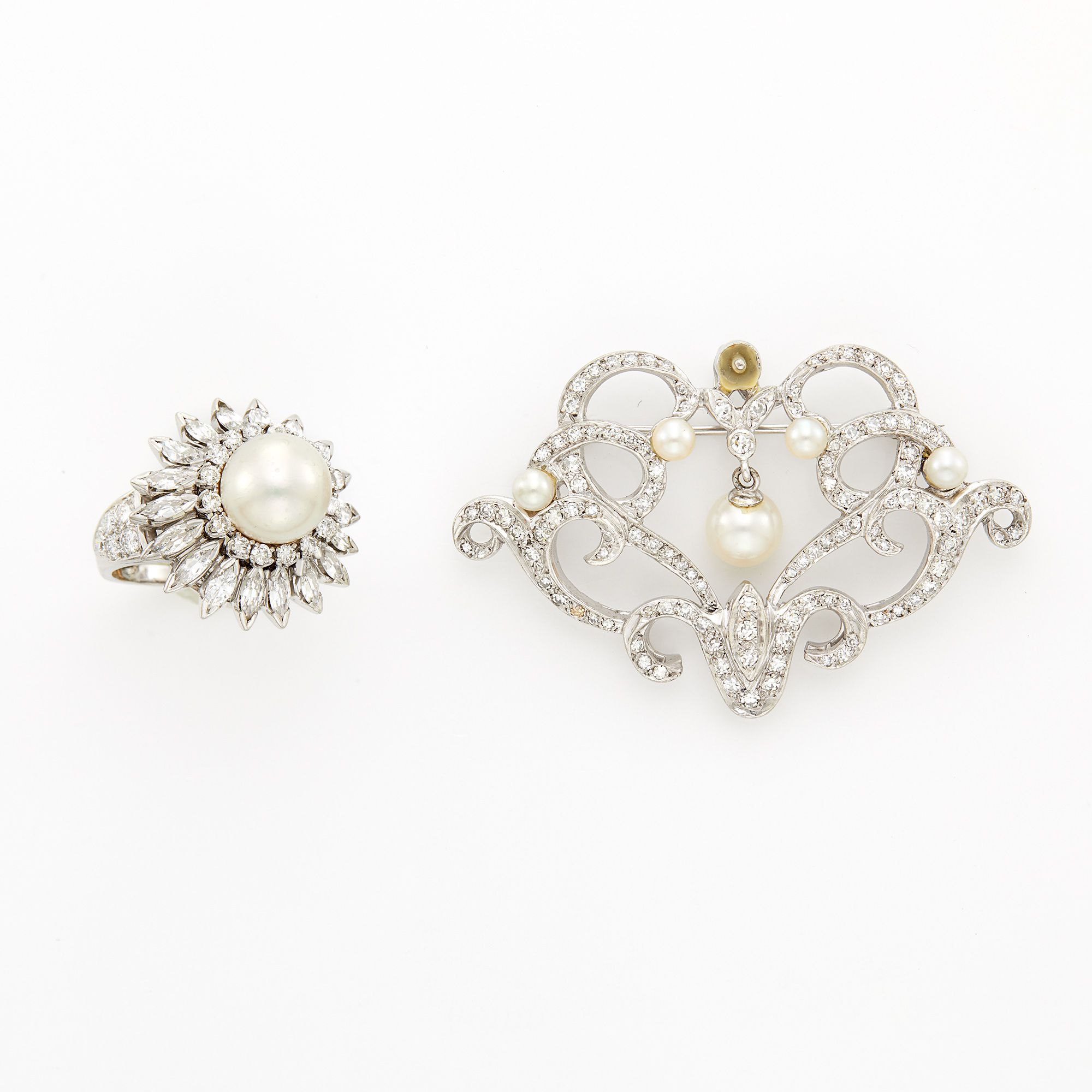 Lot image - White Gold, Diamond and Cultured Pearl Brooch and Platinum, Cultured Pearl and Diamond Ring