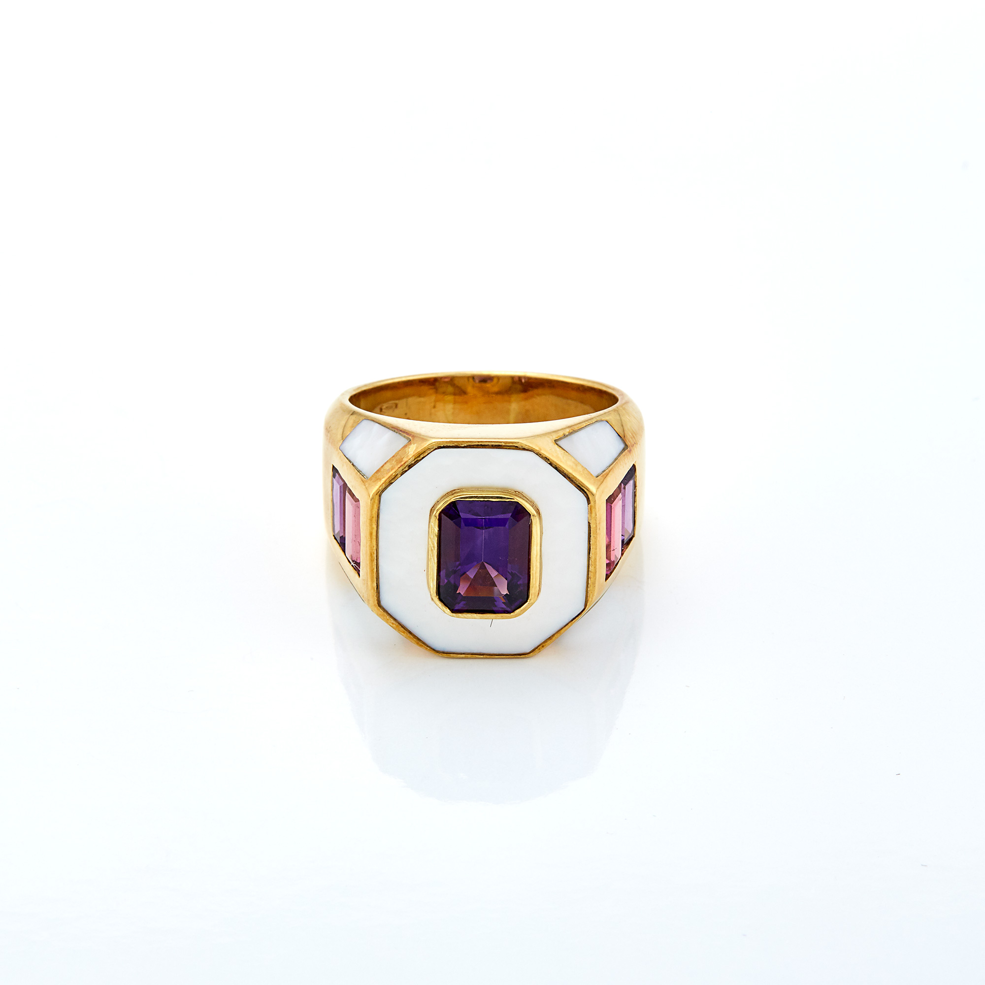 Lot image - Gold, Amethyst, Pink Tourmaline and Mother-of-Pearl Ring