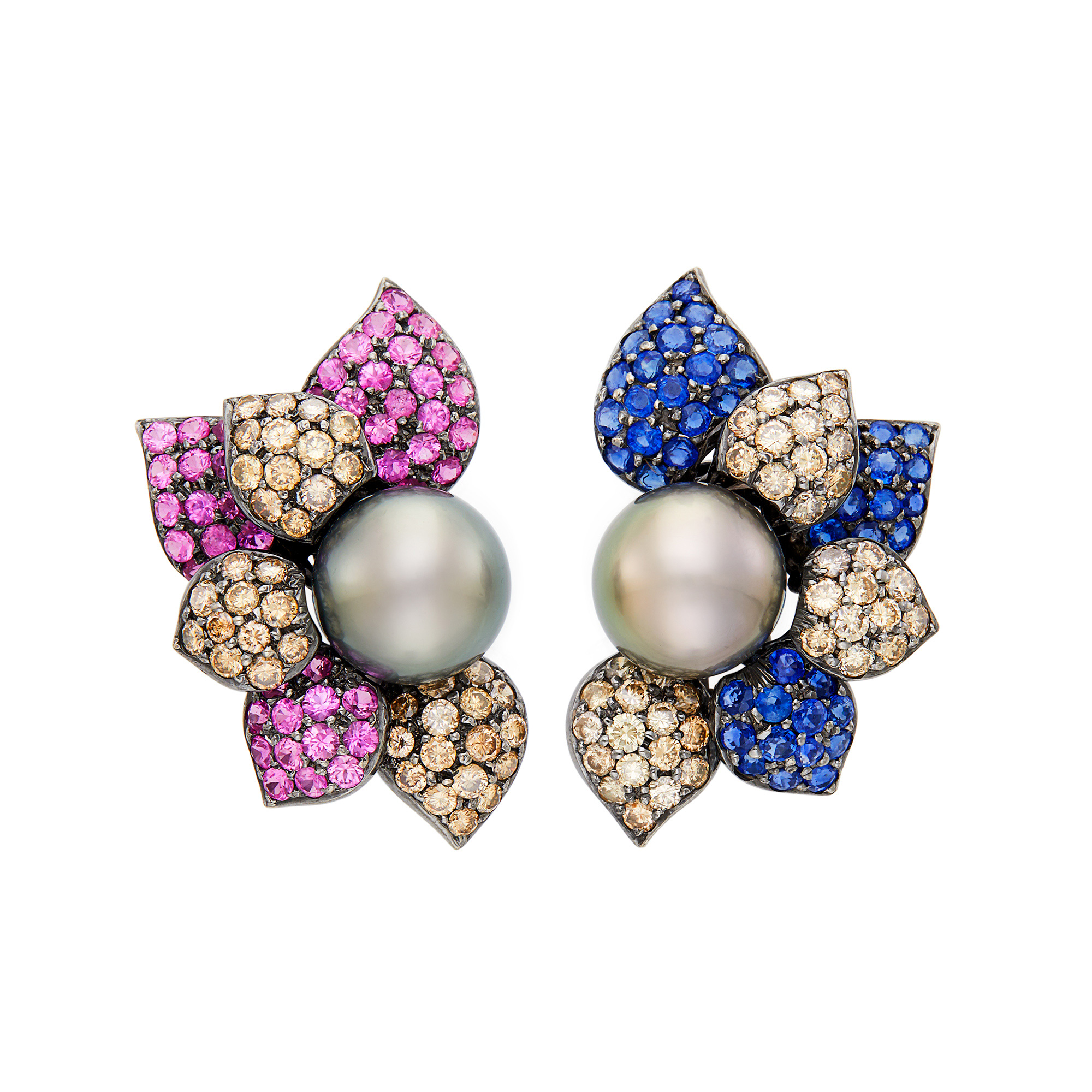 Lot image - Pair of Blackened Gold, Tahitian Gray Cultured Pearl, Sapphire, Pink Sapphire and Brown Diamond Flower Earclips
