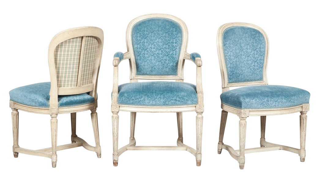 Lot image - Set of Twelve Louis XVI Style Blue Velvet Upholstered White Painted Dining Chairs