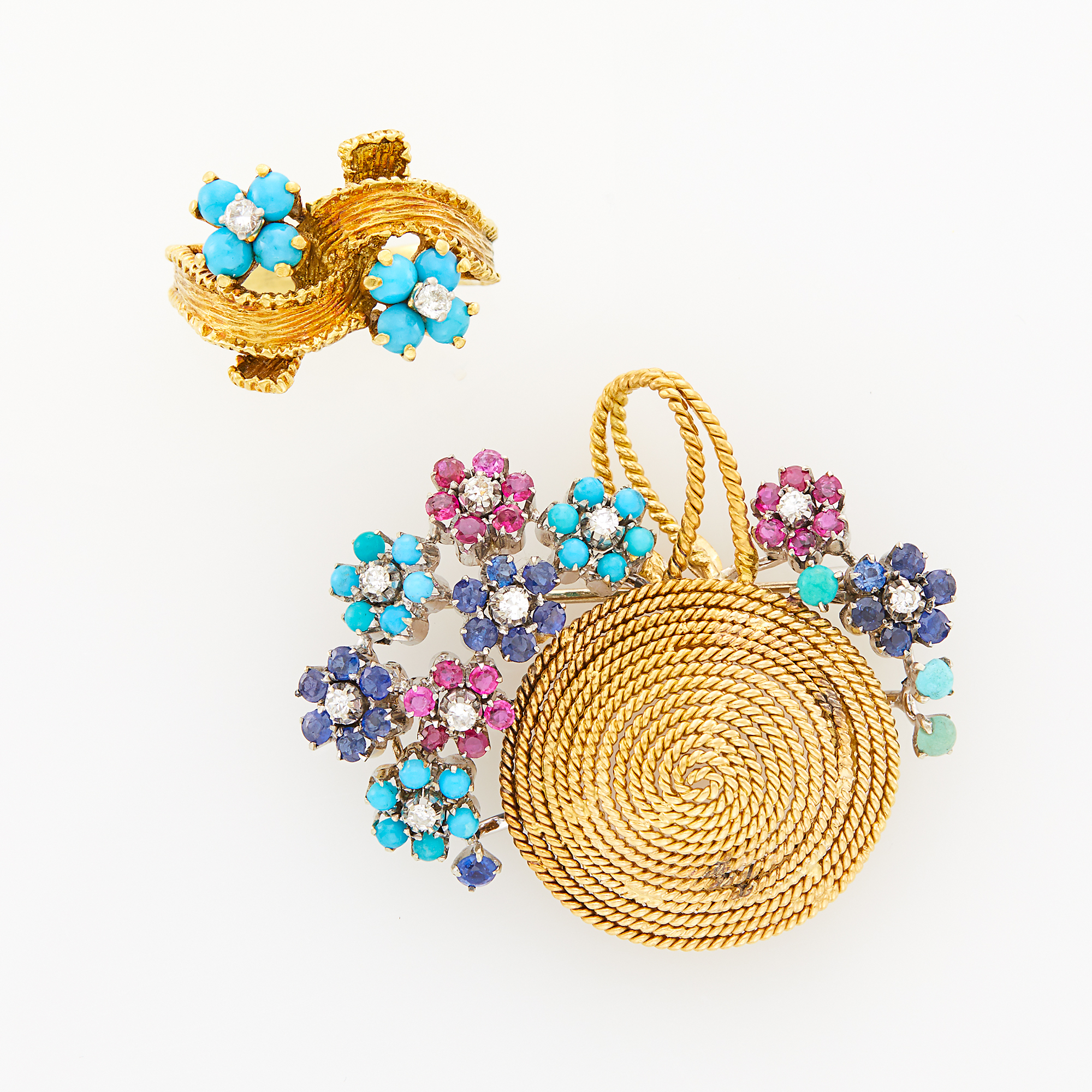 Lot image - Gold, Turquoise and Diamond Ring and Gem-Set Flower Basket Brooch