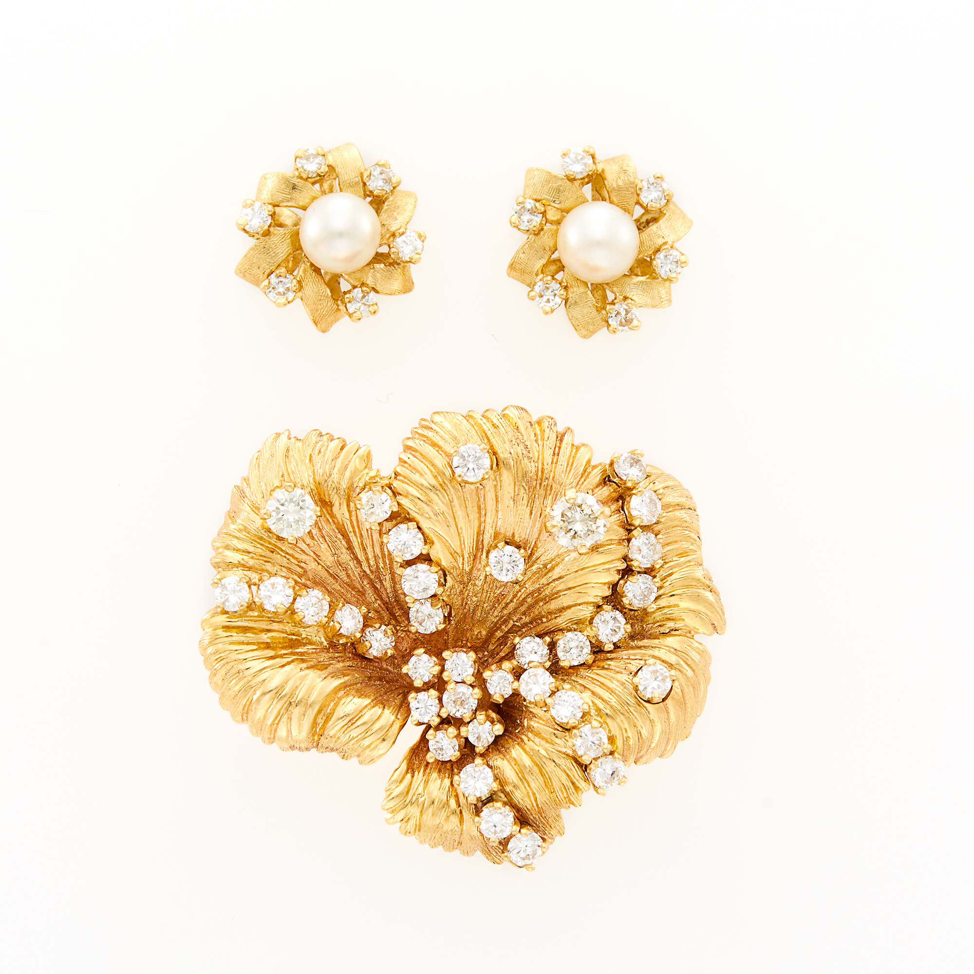 Lot image - Gold and Diamond Flower Brooch and Pair of Gold, Cultured Pearl and Diamond Flower Earrings