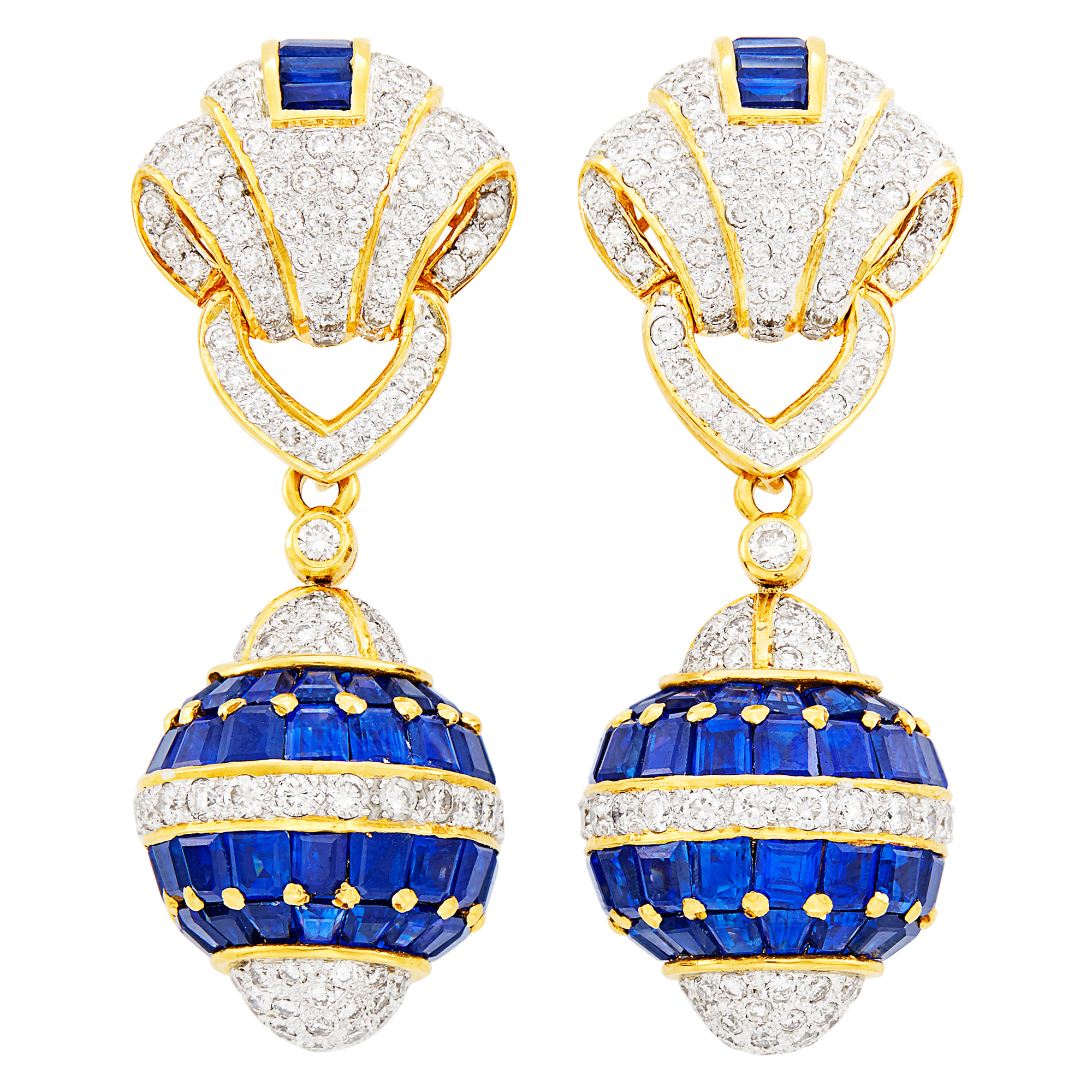 Lot image - Pair of Gold, Sapphire and Diamond Pendant-Earclips