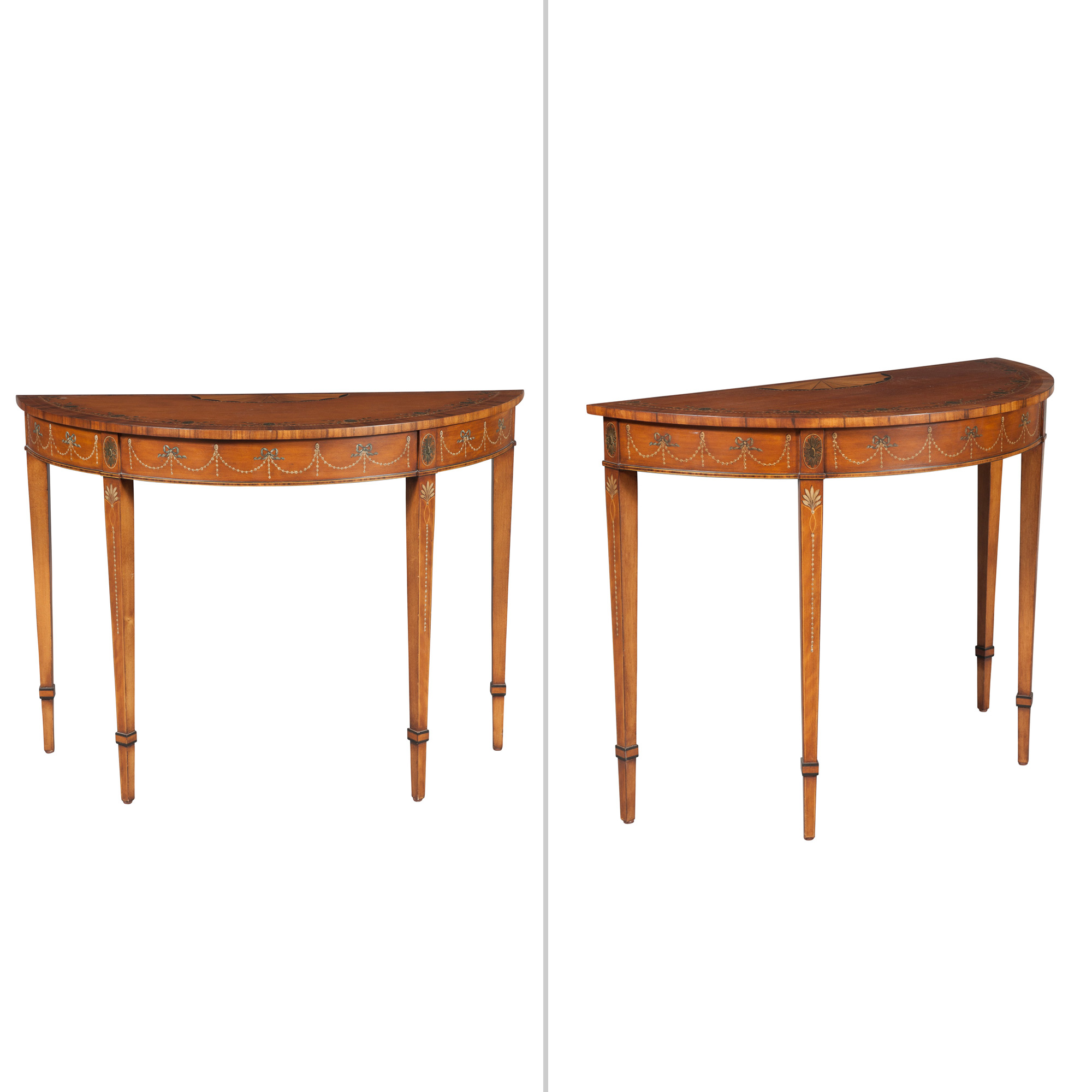 Lot image - Pair of George III Style Maple and Part-Painted D-Shaped Tables