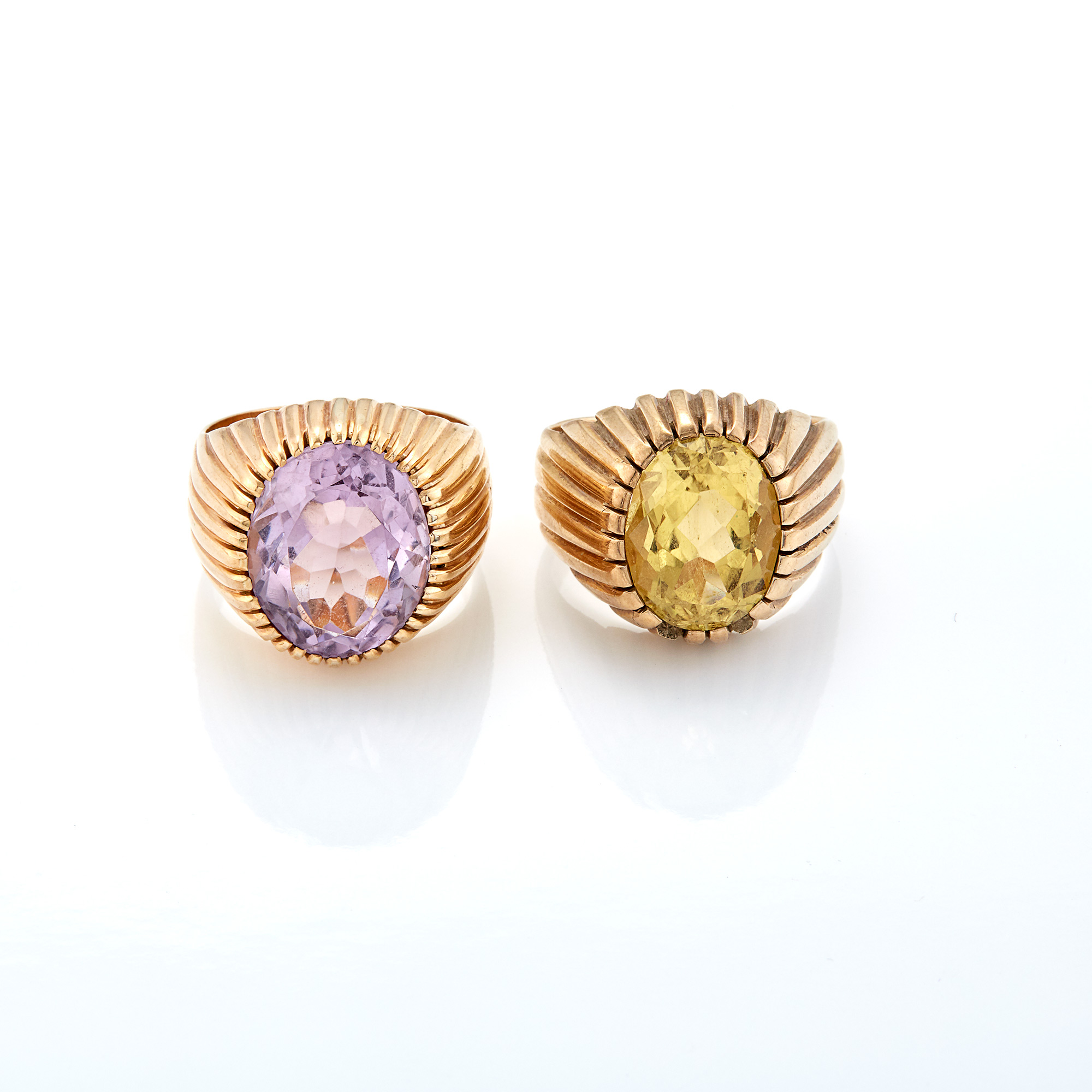 Lot image - Rose Gold and Amethyst Ring and Gold and Citrine Ring