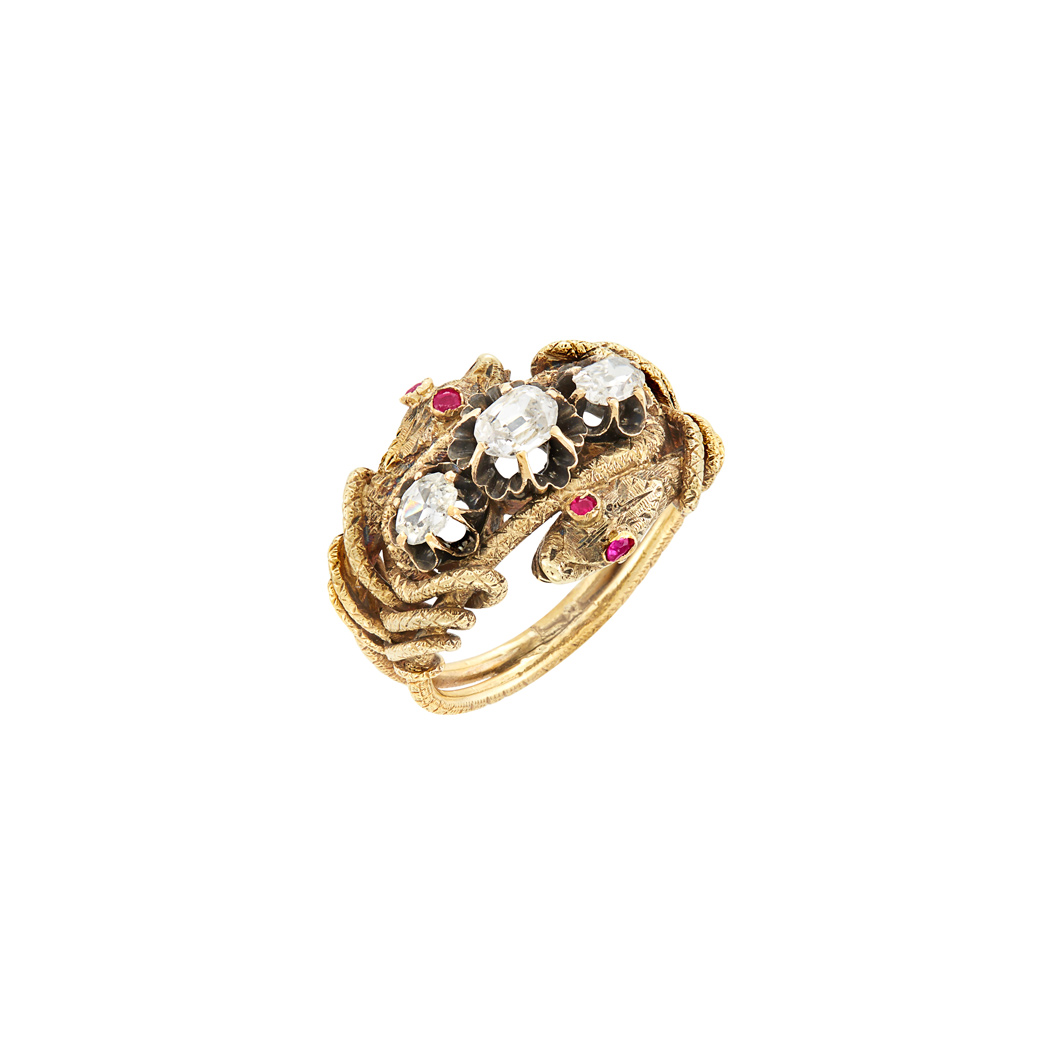 Lot image - Antique Gold, Ruby and Diamond Double Snake Ring