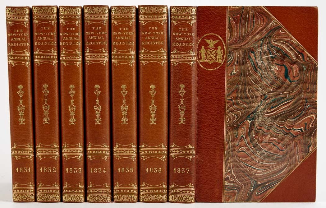 Lot image - [BINDINGS]  WILLIAMS, EDWIN. The New York Annual Register, 1831-37.