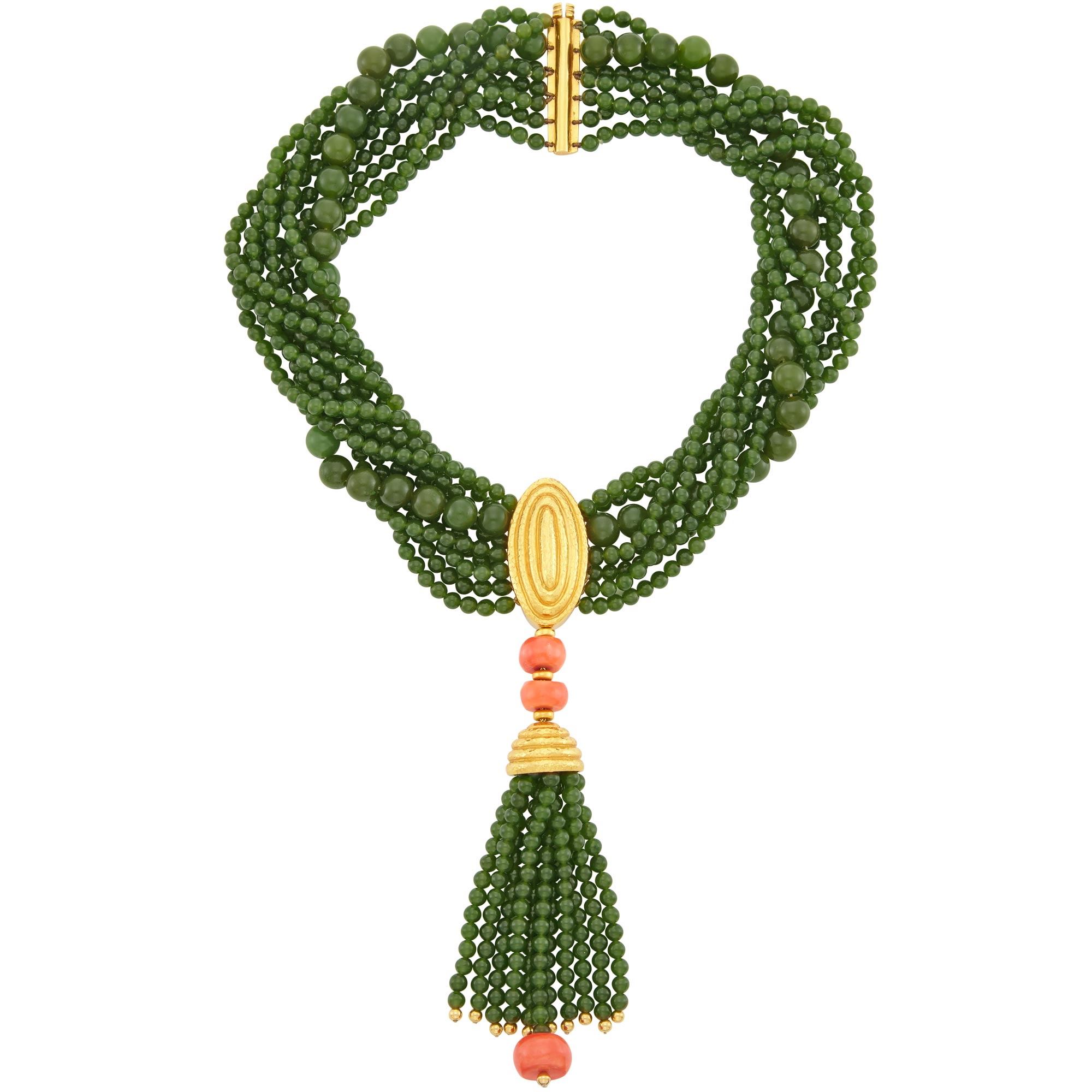 Lot image - Nine Strand Nephrite Bead, Hammered Gold and Coral Bead Torsade Tassel Necklace