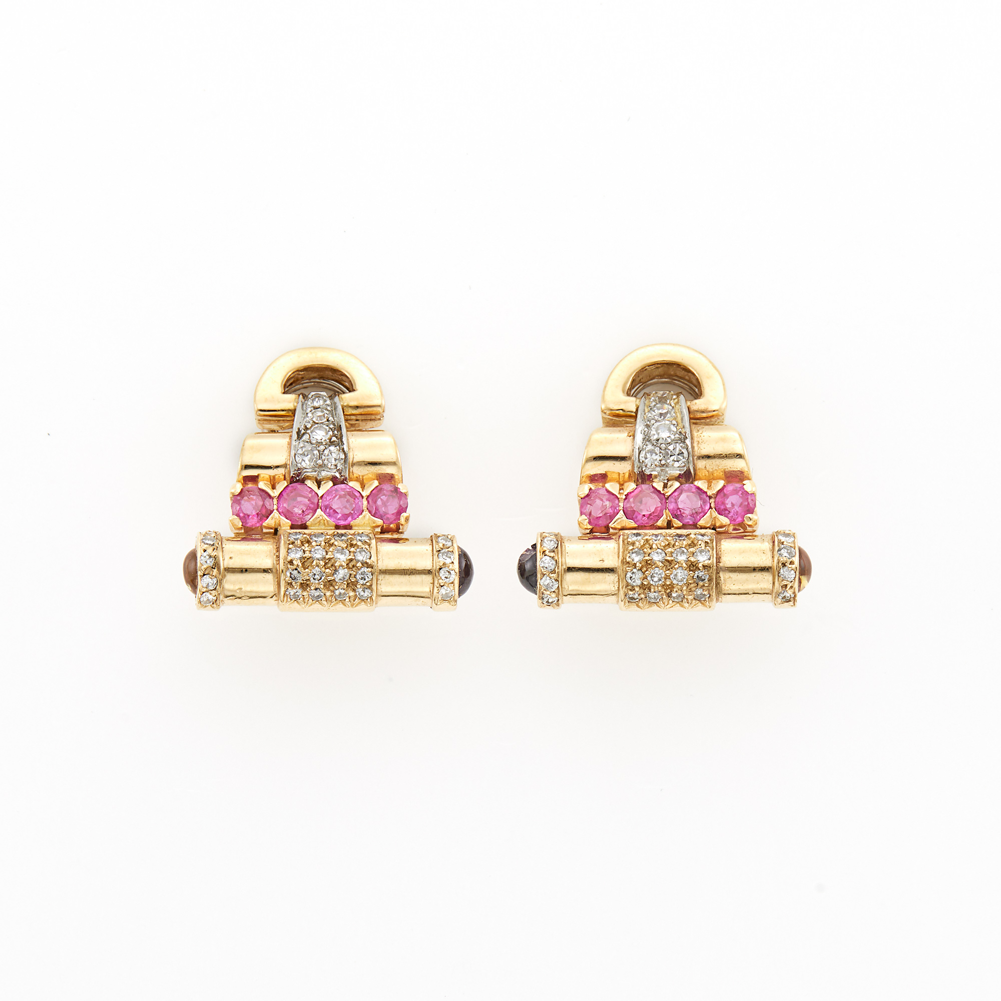 Lot image - Pair of Gold, Ruby and Diamond Earrings