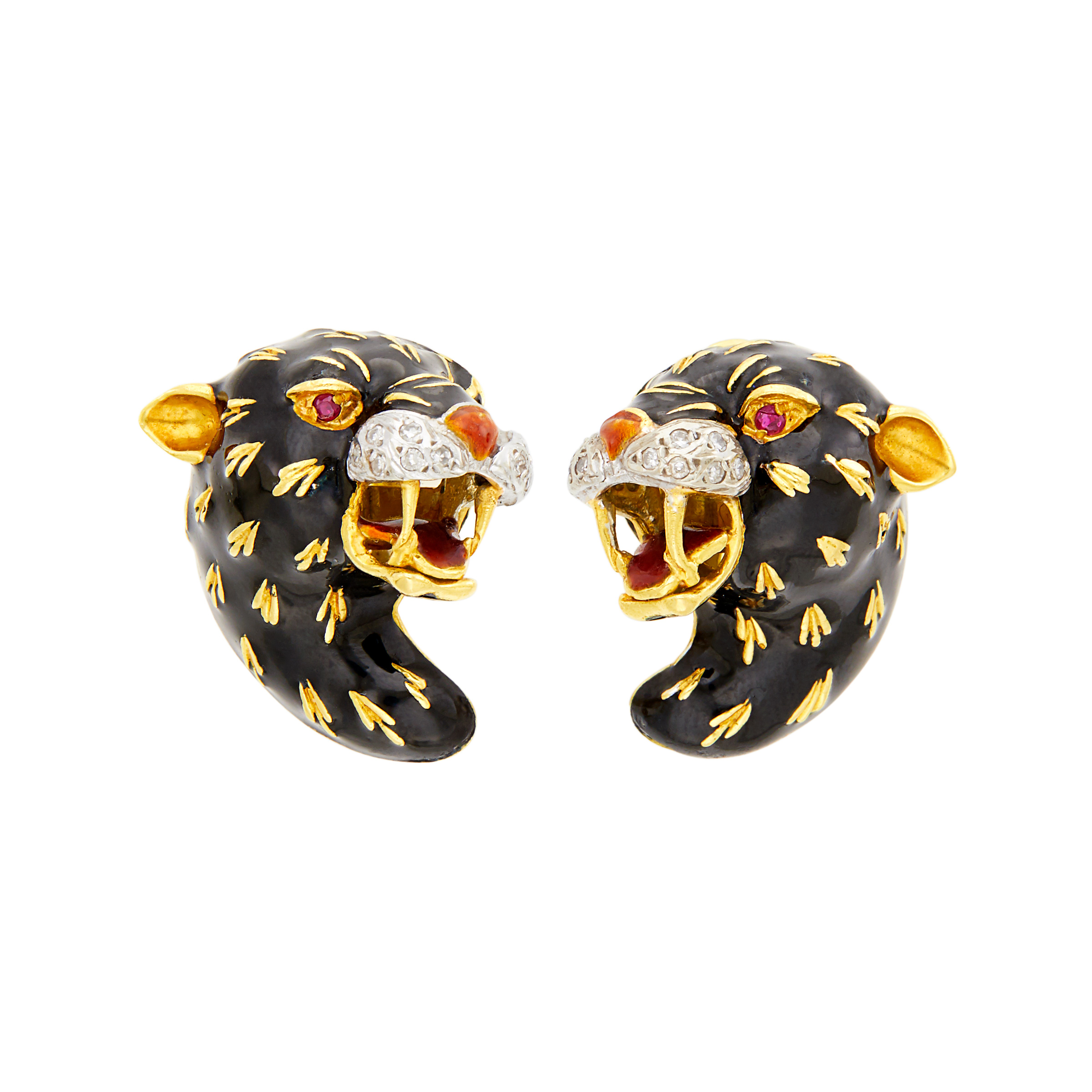Lot image - Frascarolo Pair of Gold, Enamel and Diamond Panther Earclips