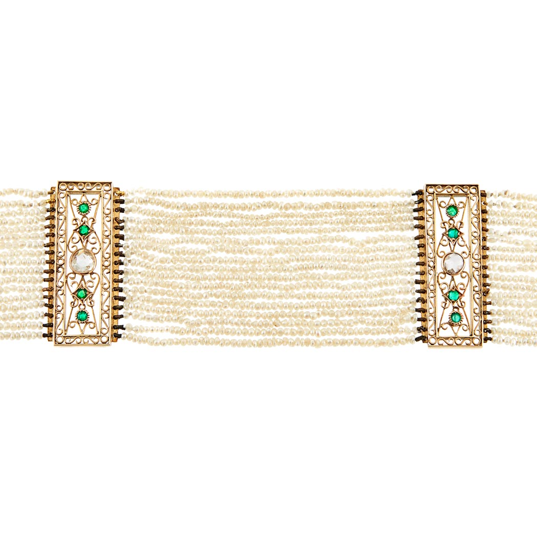 Lot image - Multistrand Seed Pearl, Gold, Emerald and Diamond Choker Necklace