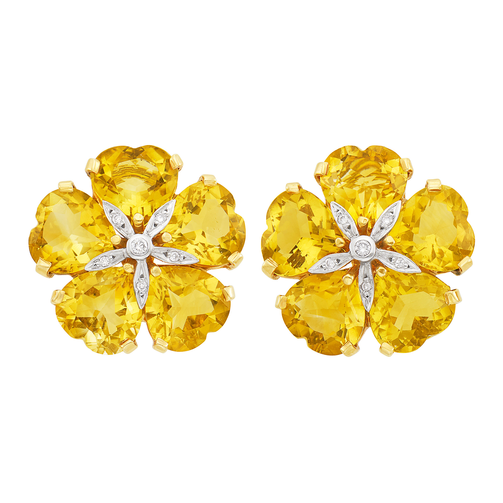 Lot image - Pair of Two-Color Gold, Citrine and Diamond Flower Earclips