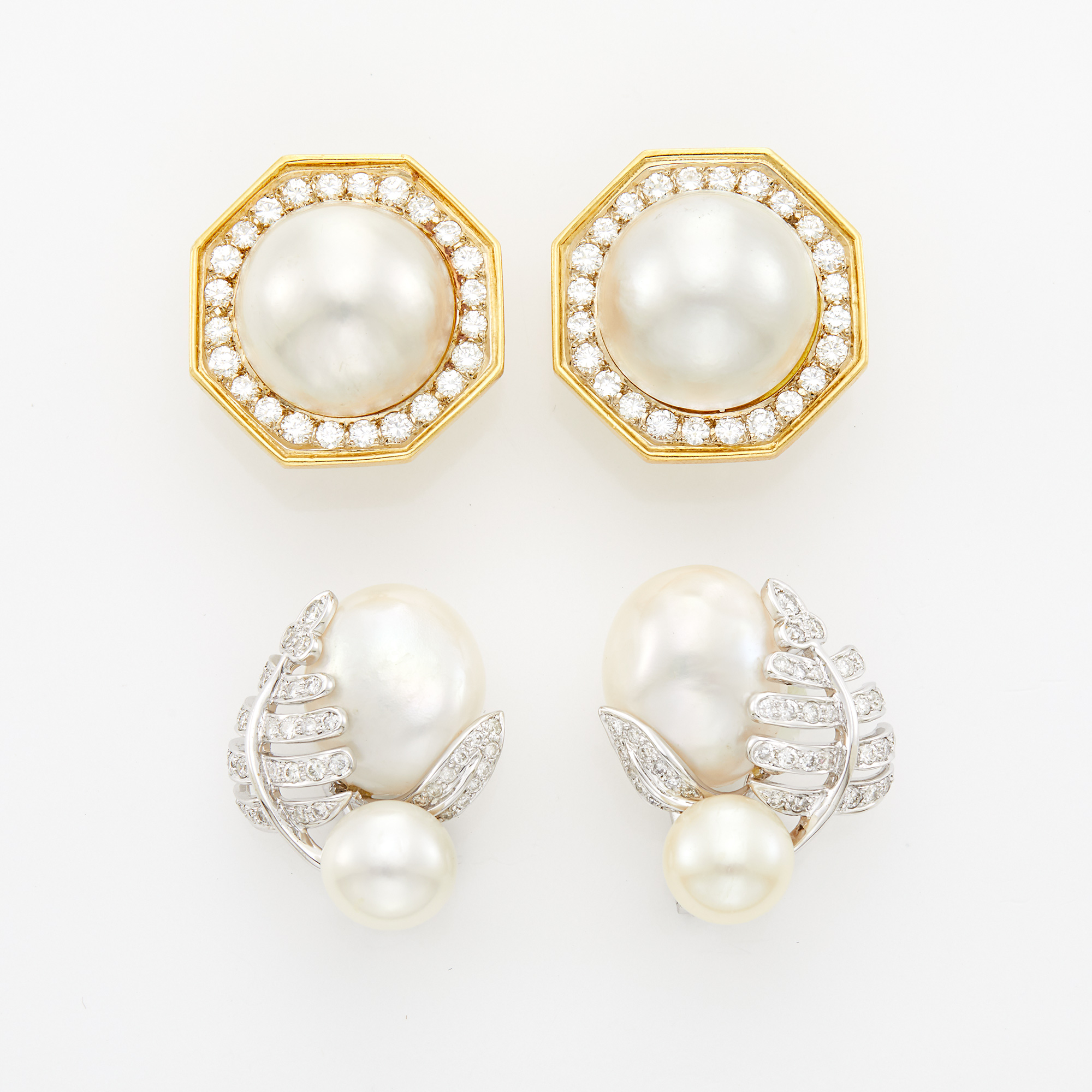 Lot image - Two Pairs of Gold, White Gold, Cultured Pearl and Diamond Earrings