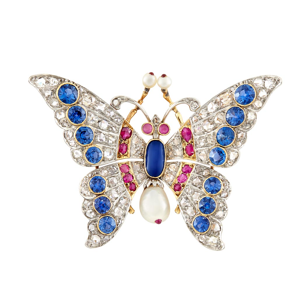 Lot image - Antique Platinum-Topped Gold, Gem-Set, Diamond and Pearl Butterfly Brooch, Schumann Sons