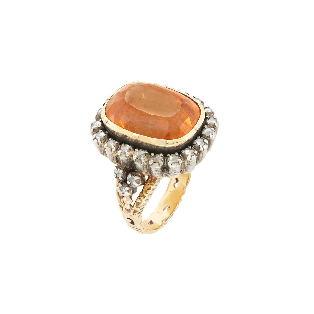 Lot image - Antique Silver-Topped Gold, Citrine and Diamond Ring