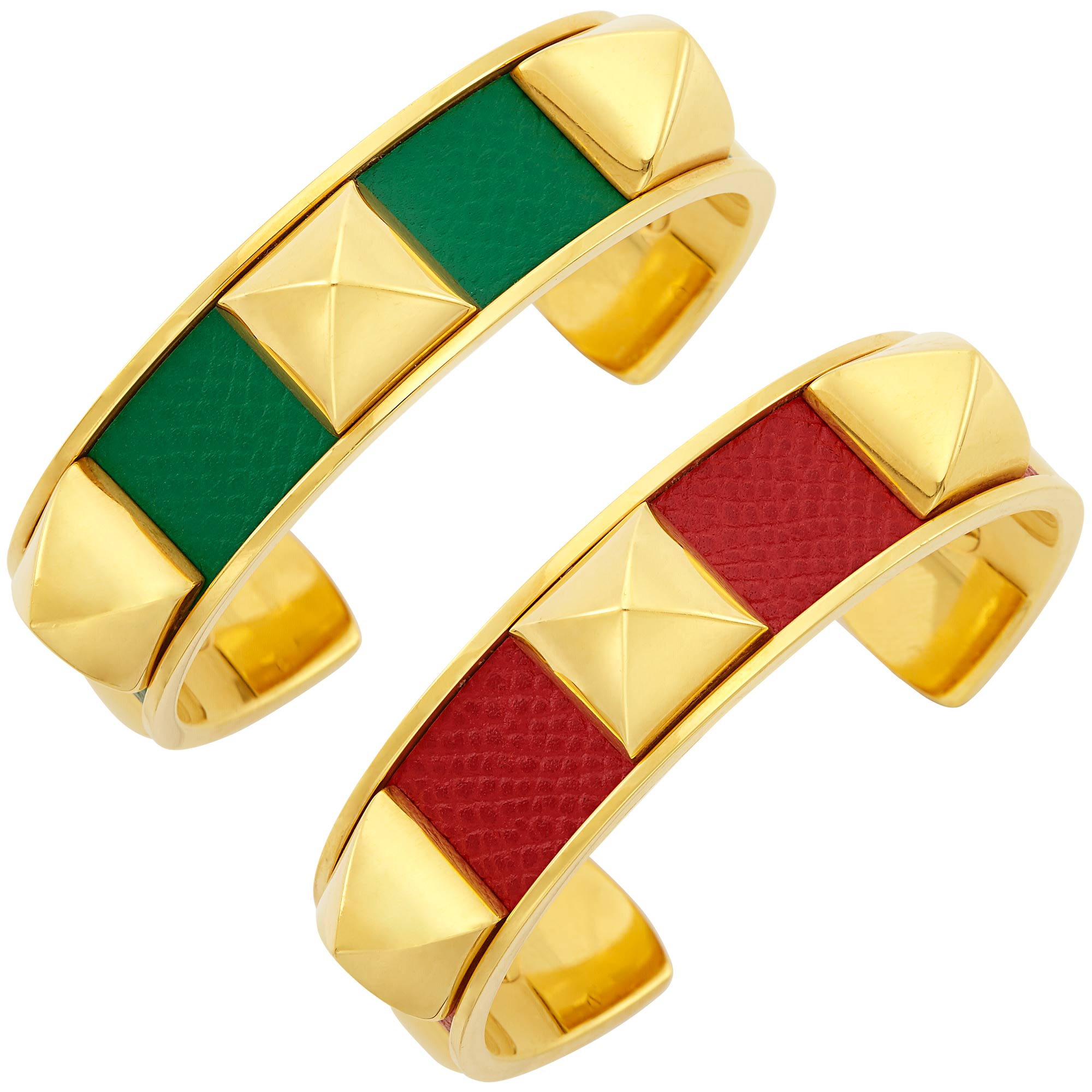 Lot image - Pair of Gold-Plated and Red and Green Leather Stud Medor Cuff Bangle Bracelets, Hermès