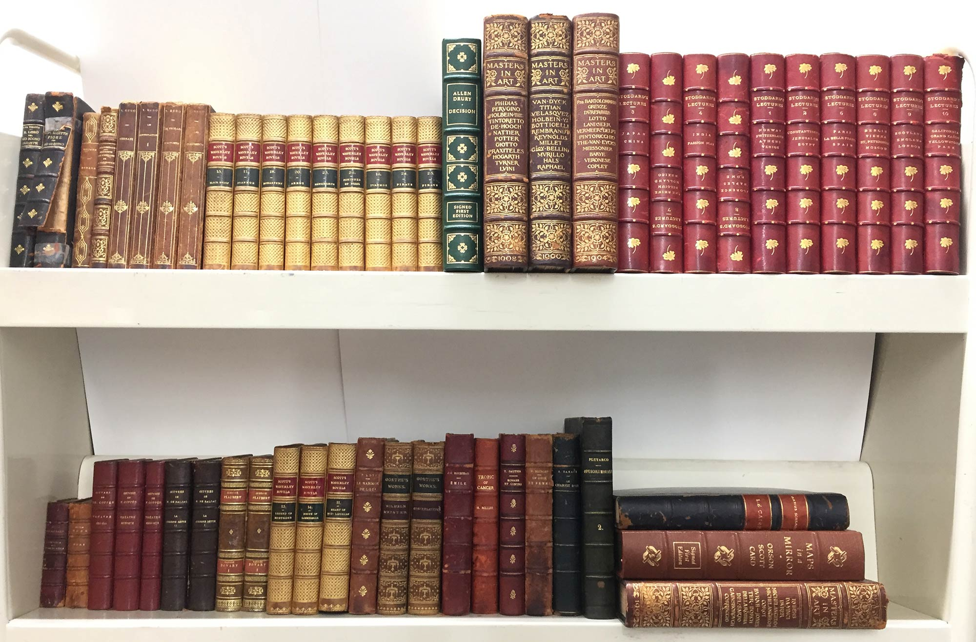 Lot image - [BINDINGS]  Approximately 120 leather bound books.