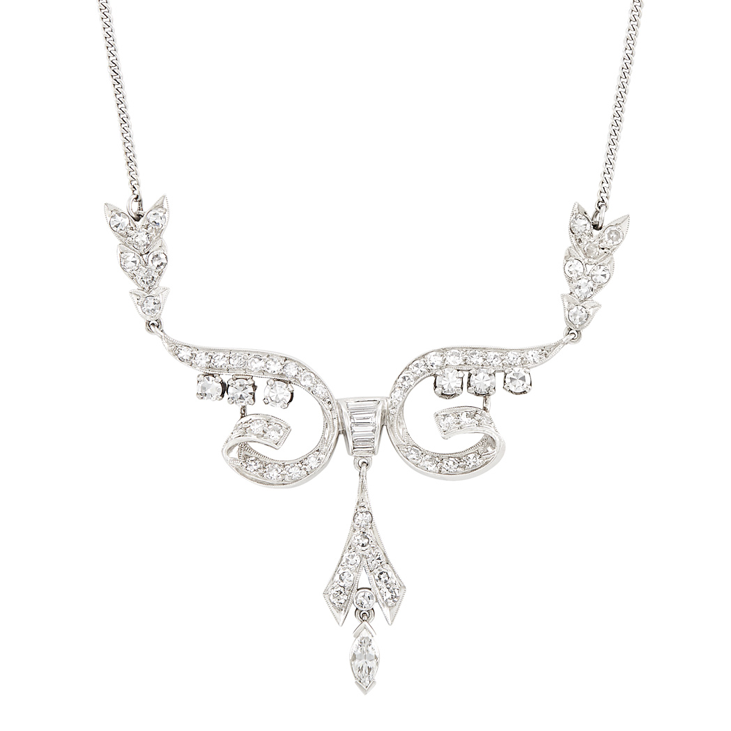 Lot image - Platinum, White Gold and Diamond Necklace