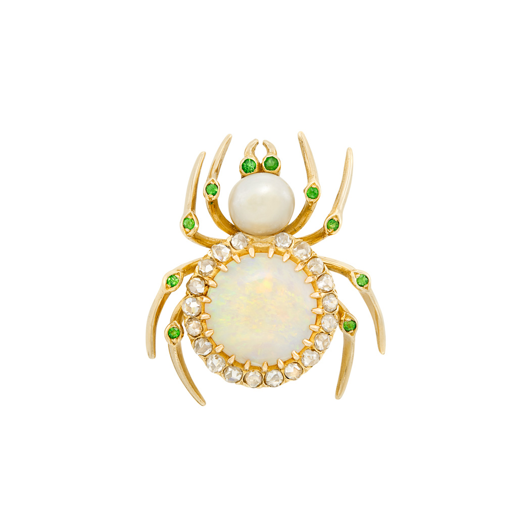 Lot image - Antique Gold, Opal, Freshwater Pearl, Diamond and Demantoid Garnet Spider Pendant-Brooch