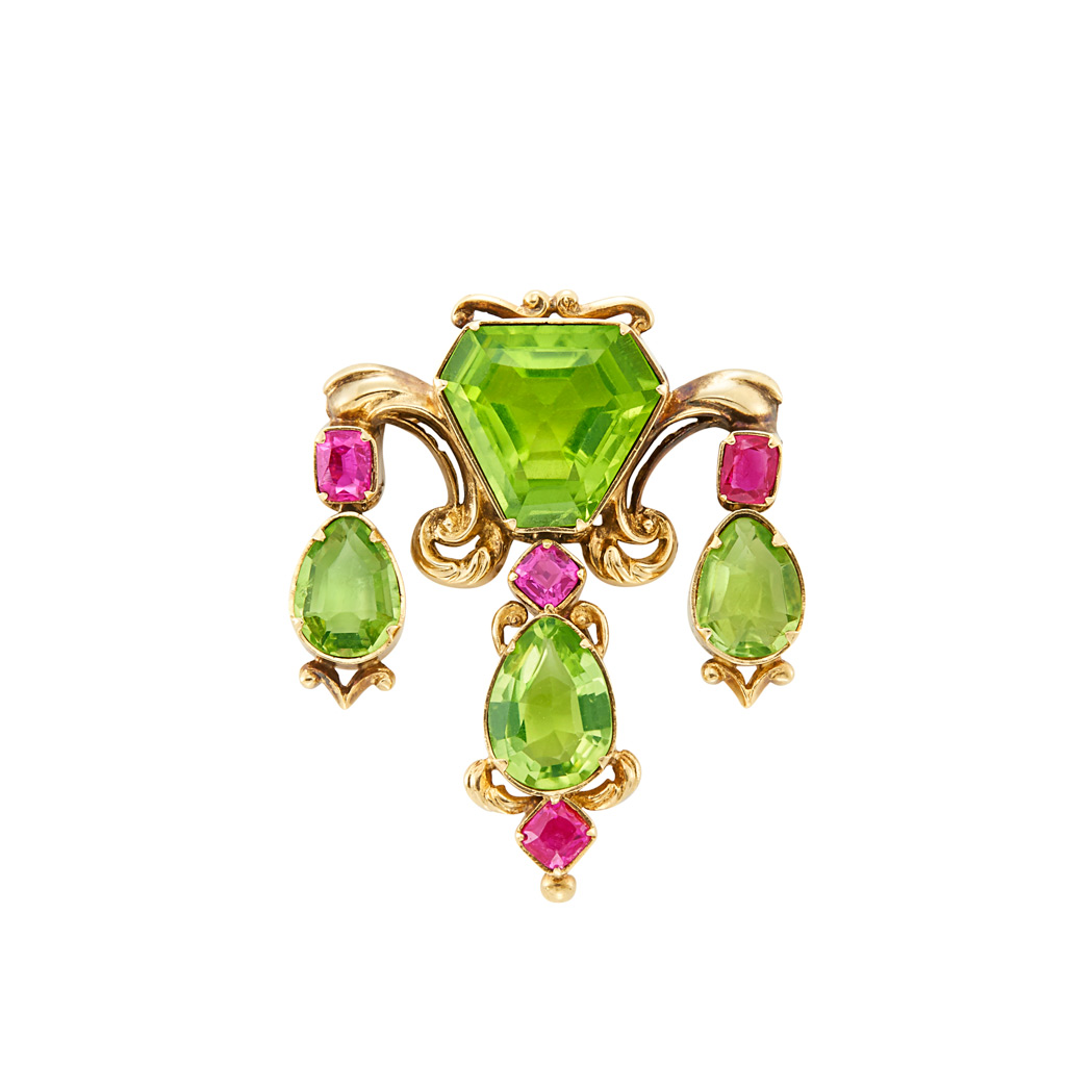 Lot image - Antique Gold, Peridot and Ruby Pendant-Brooch
