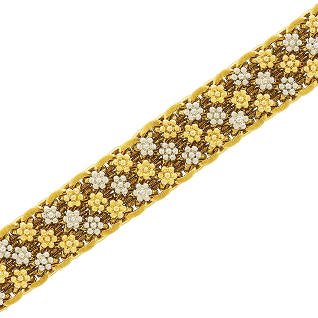 Lot image - Two-Color Gold Floret Bracelet, Mario Buccellati