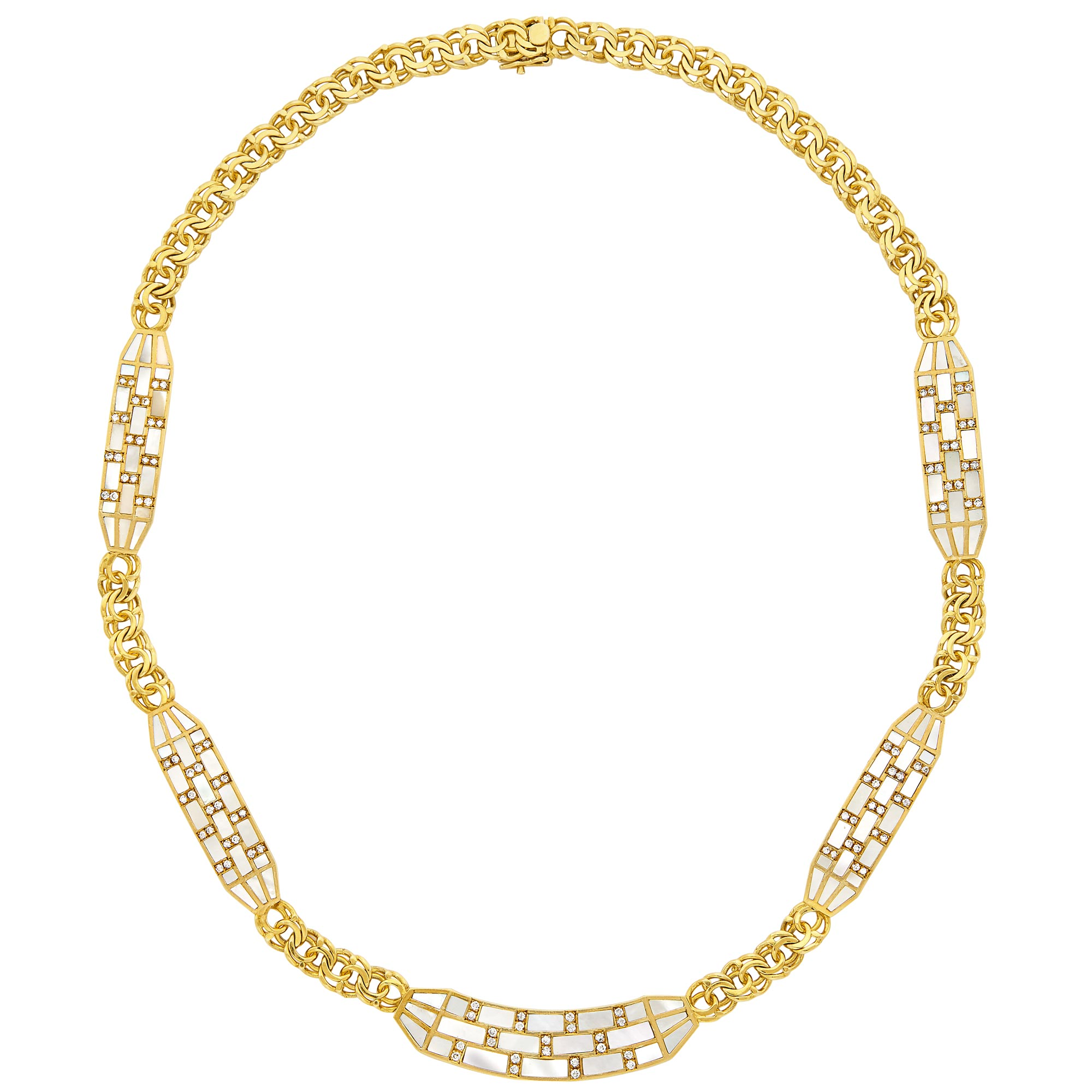 Lot image - Gold, Mother-of-Pearl and Diamond Curb Link Chain Necklace