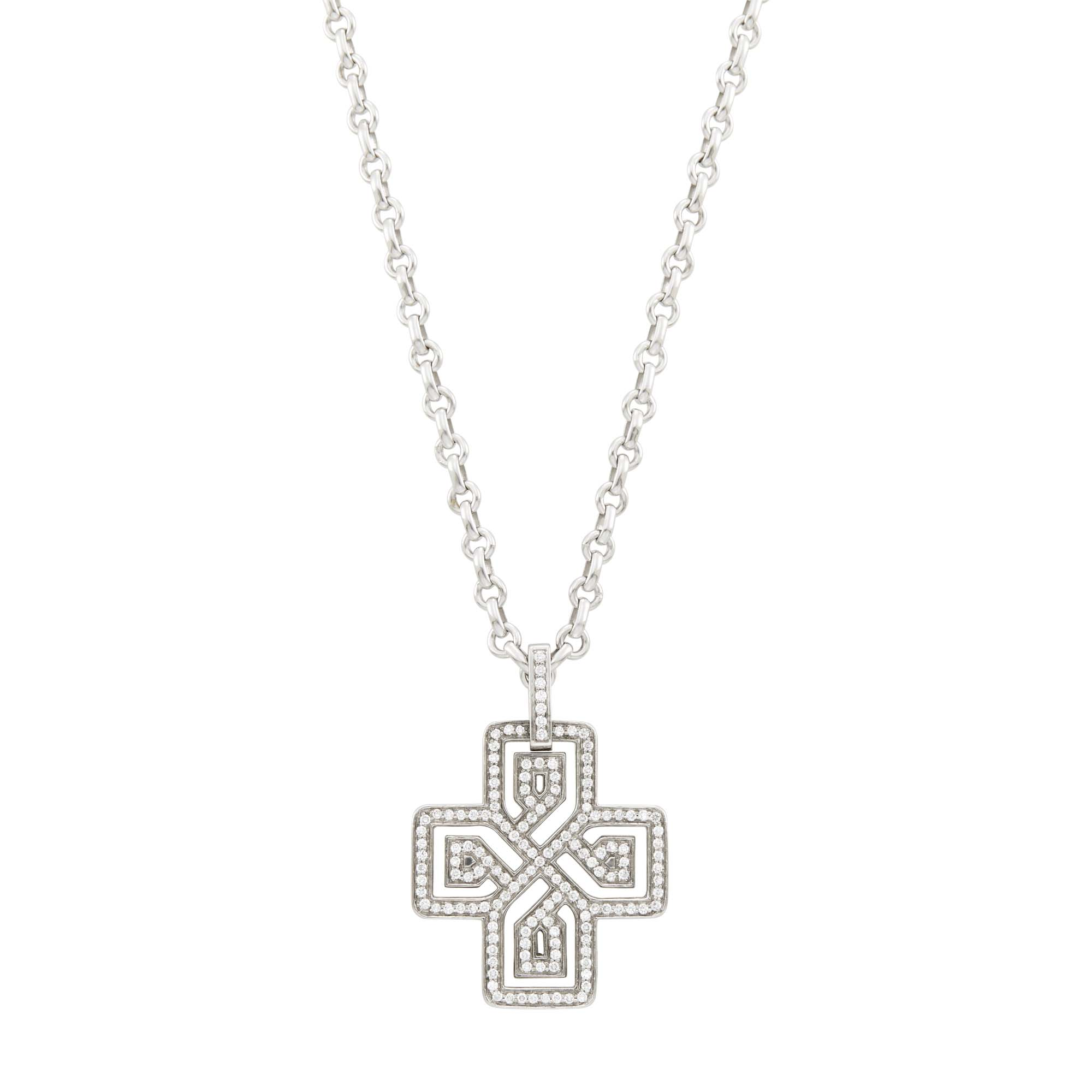 Lot image - Poiray White Gold and Diamond Pendant-Necklace, France