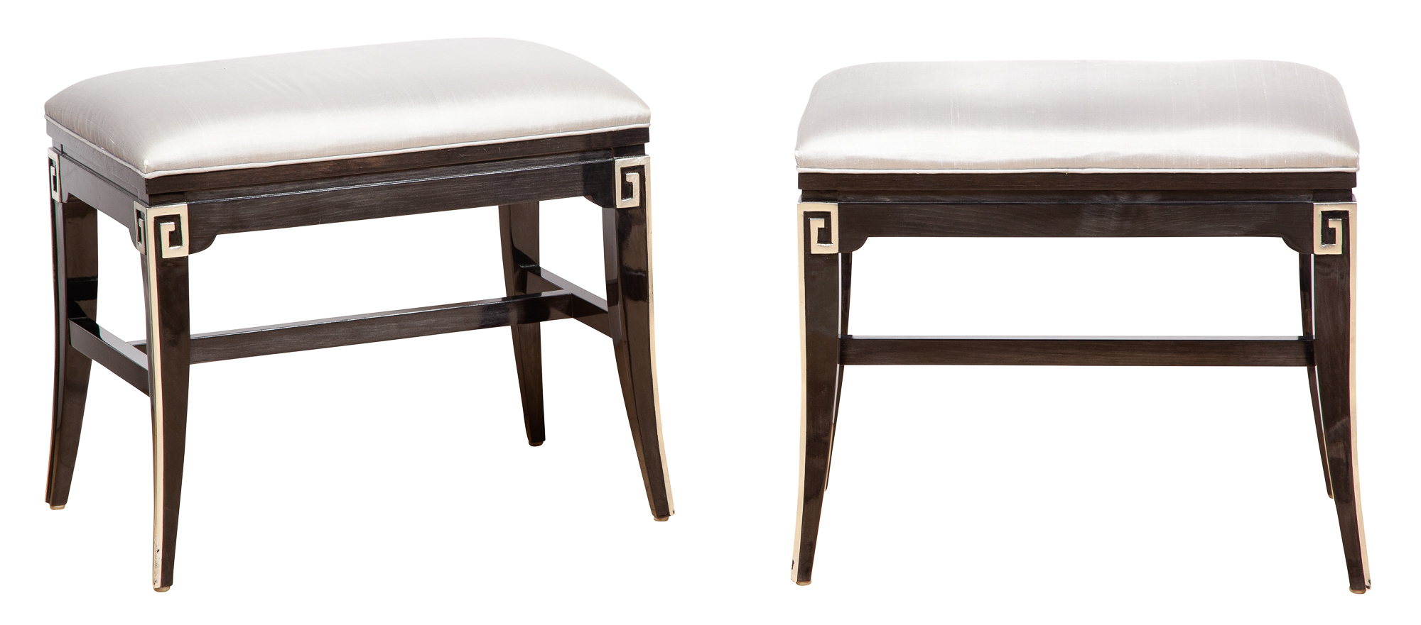 Lot image - Pair of Hollywood Regency Style Black and Silvered Lacquer Benches