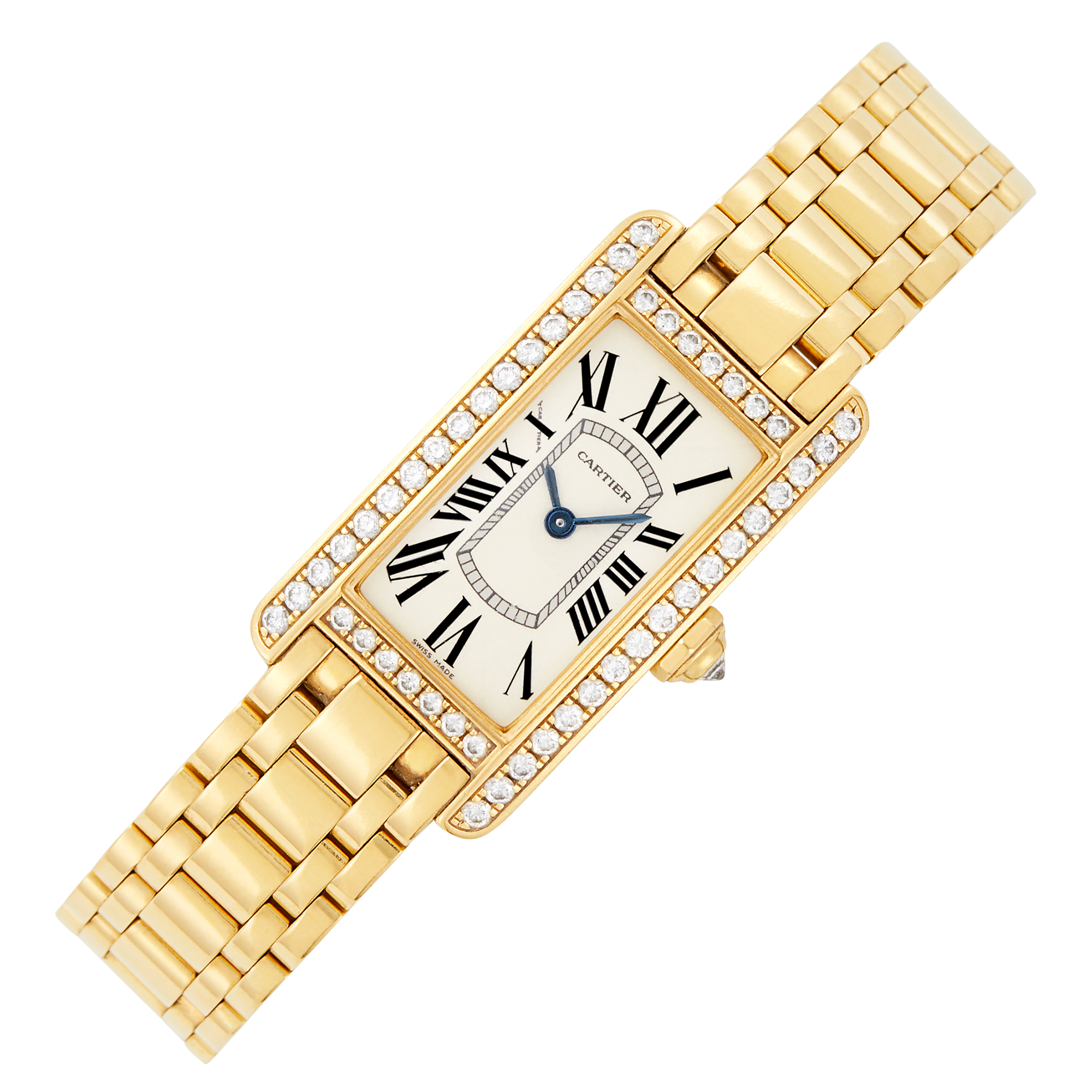 Lot image - Cartier Gold and Diamond Tank Américaine Wristwatch, Ref. 2482
