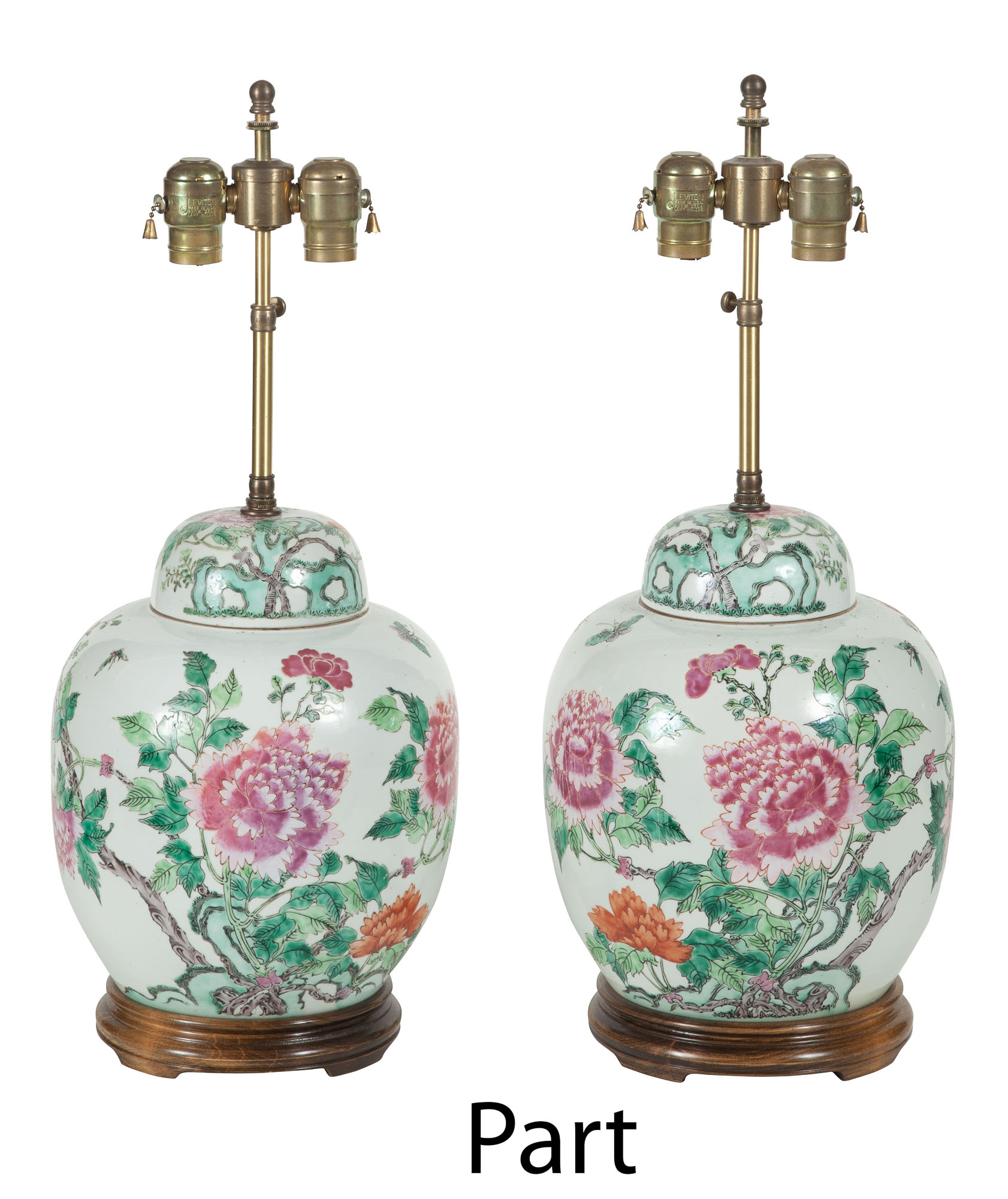 Lot image - Two Pairs of Chinese Porcelain Lamps; Together with an Assembled Pair of Chinese Porcelain Lamps
