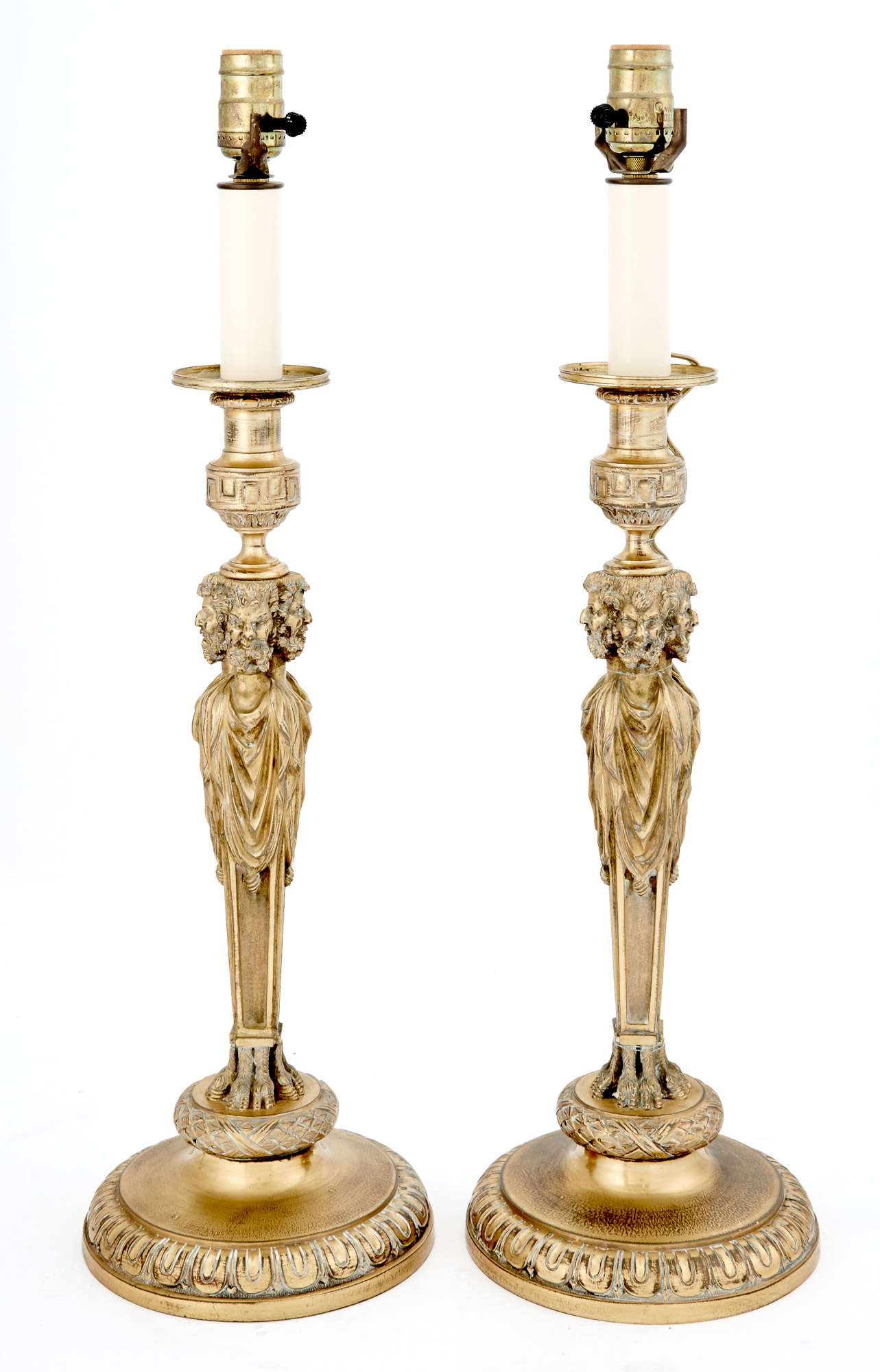 Lot image - Pair of Louis XVI Style Brass Table Lamps