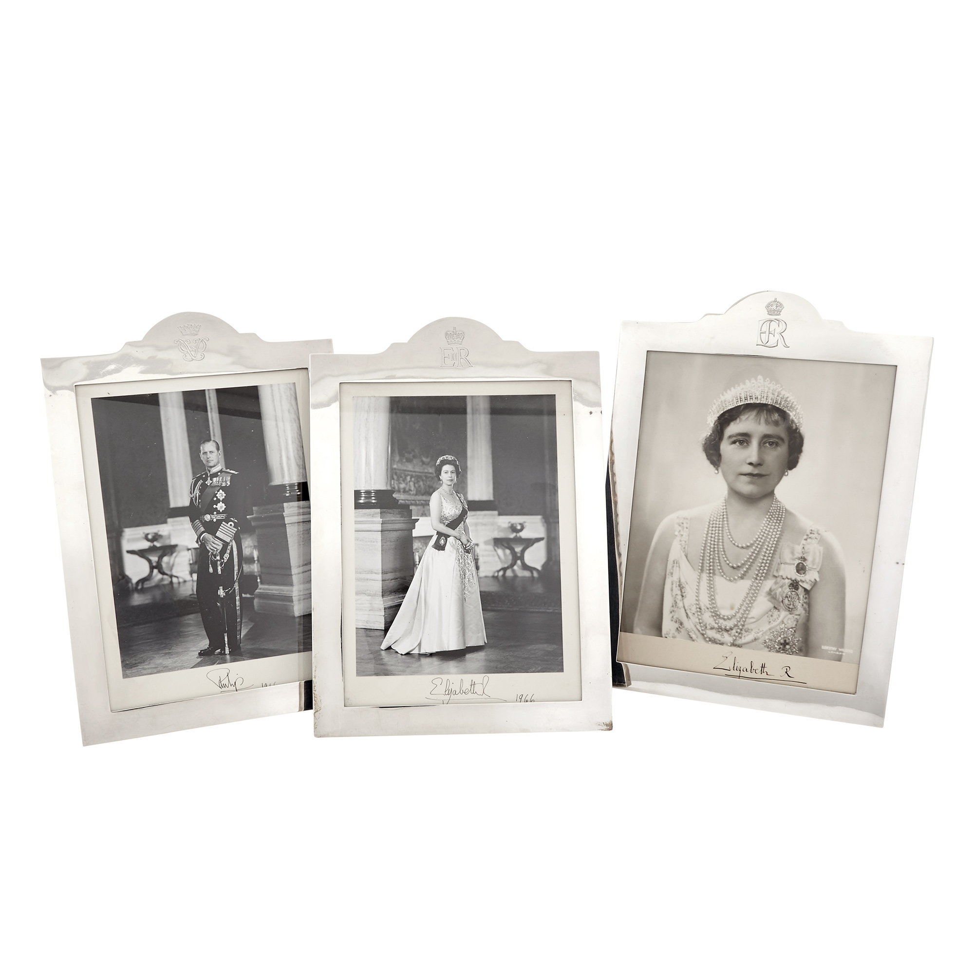 Lot image - Three English Sterling Silver Royal Presentation Frames