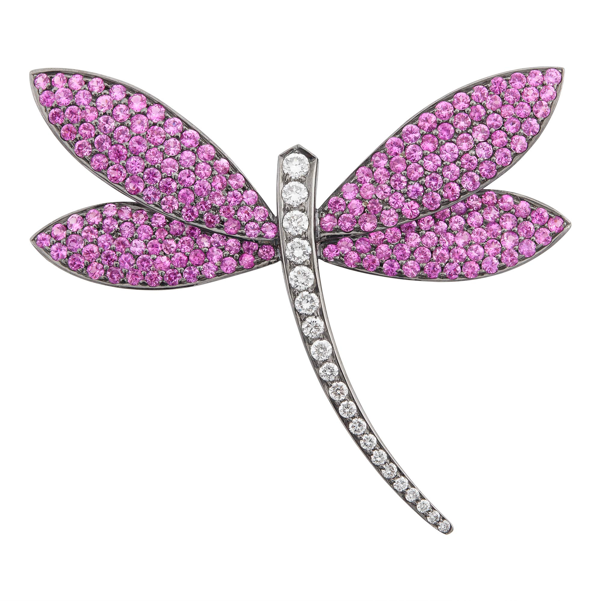 Lot image - Blackened Gold, Pink Sapphire and Diamond Dragonfly Brooch