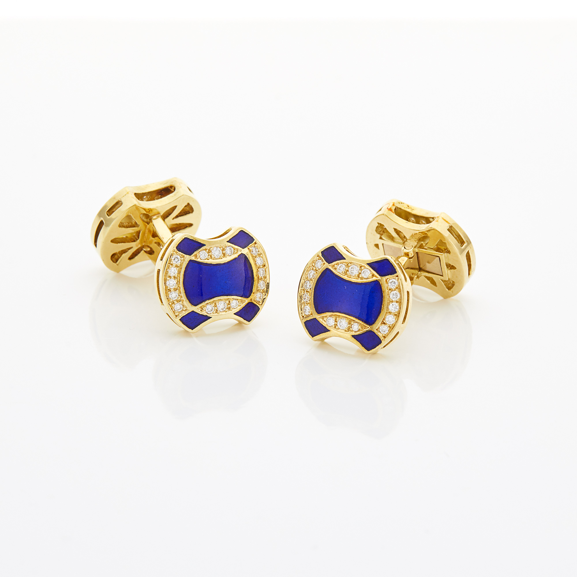 Lot image - Pair of Gold, Blue Enamel and Diamond Cufflinks
