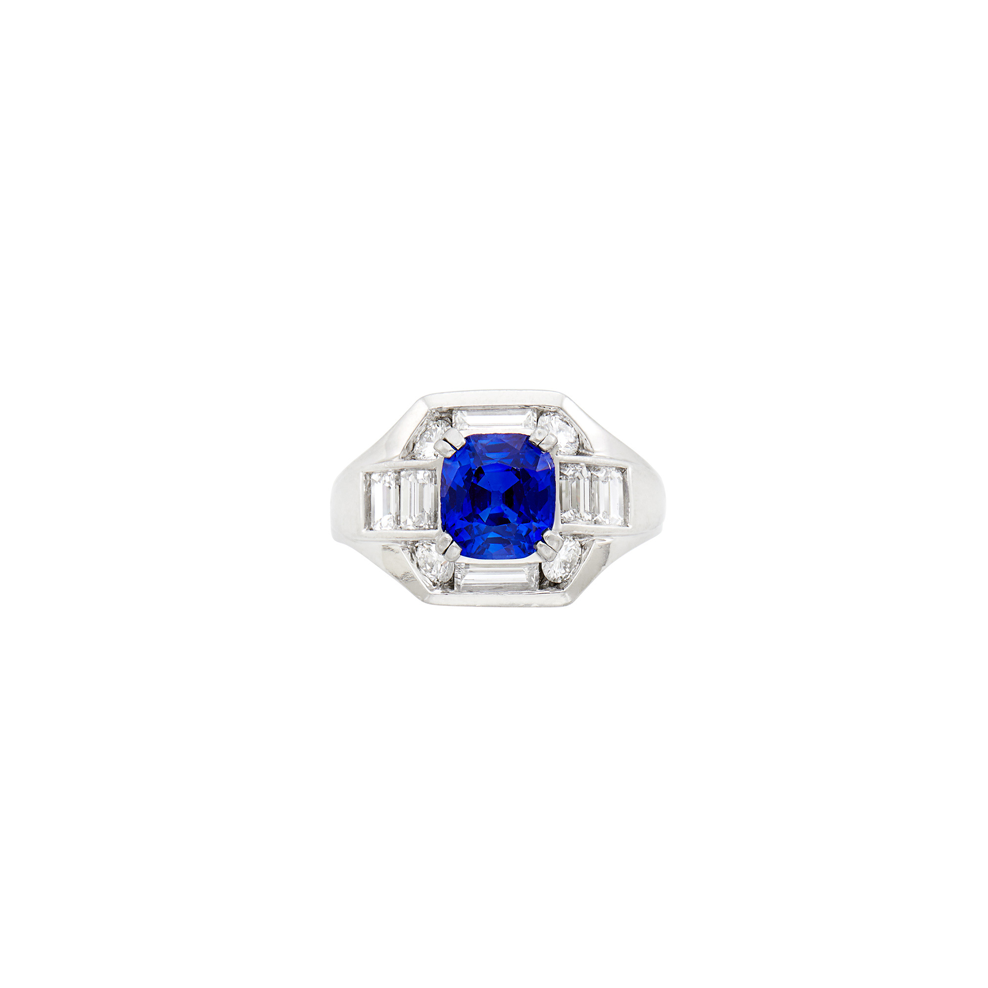 Lot image - Platinum, Kashmir Sapphire and Diamond Ring