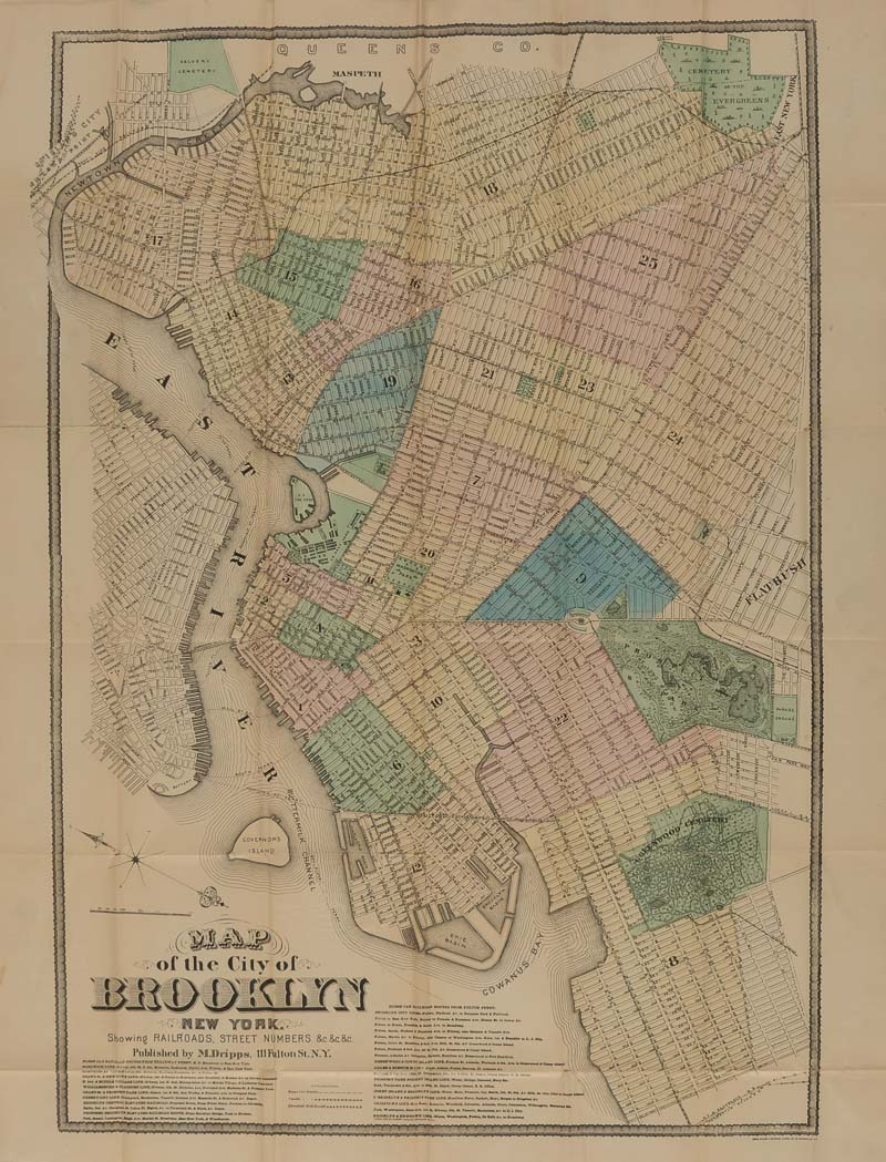 Lot image - [BROOKLYN]  Three antiquarian items Comprising DRIPPS, MATTHEW. Map of the City of Brooklyn New York. Showing Railroads, Street Numbers...
