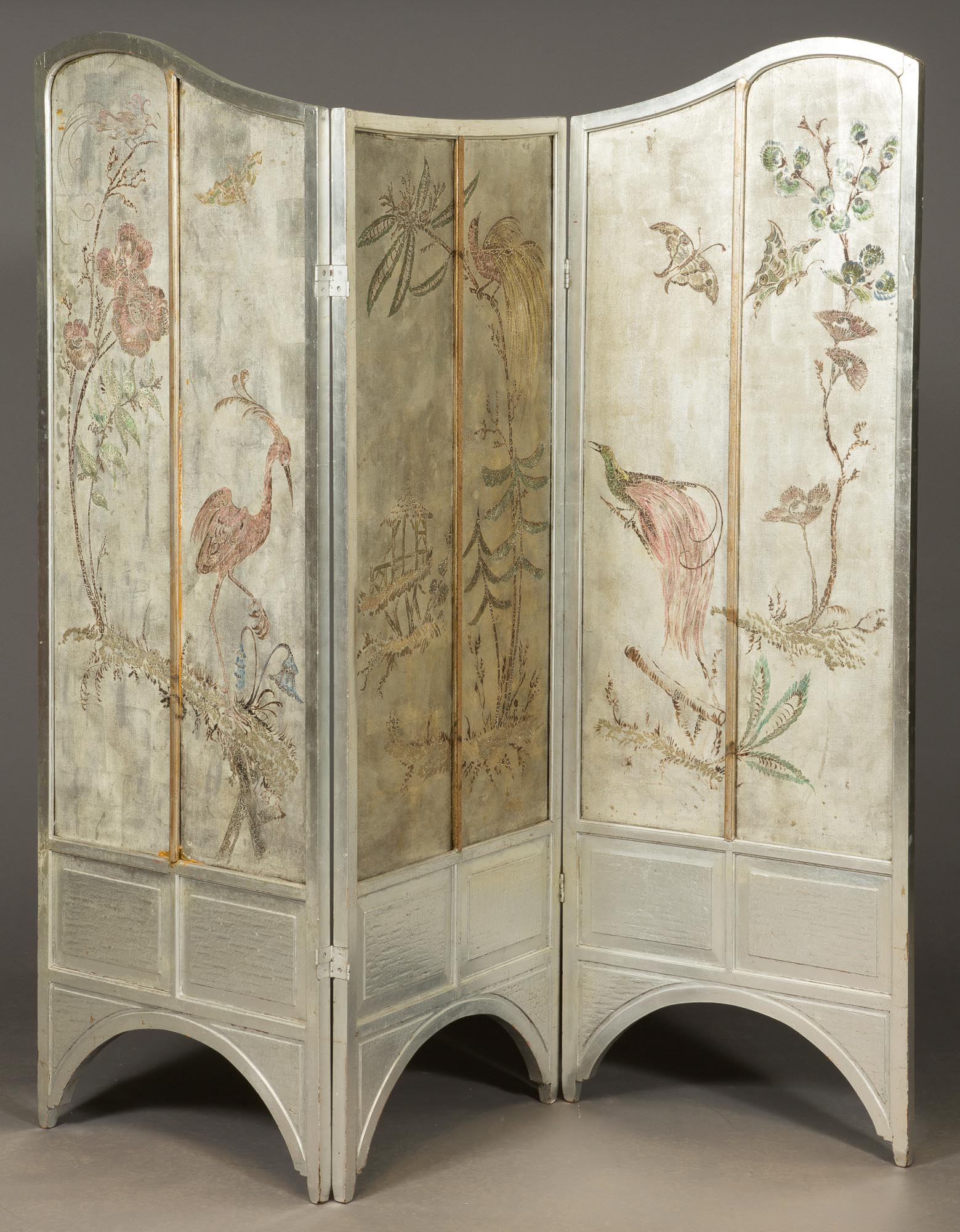 Lot image - Art Nouveau Style Polychrome Lacquer and Silvered Three-Panel Screen