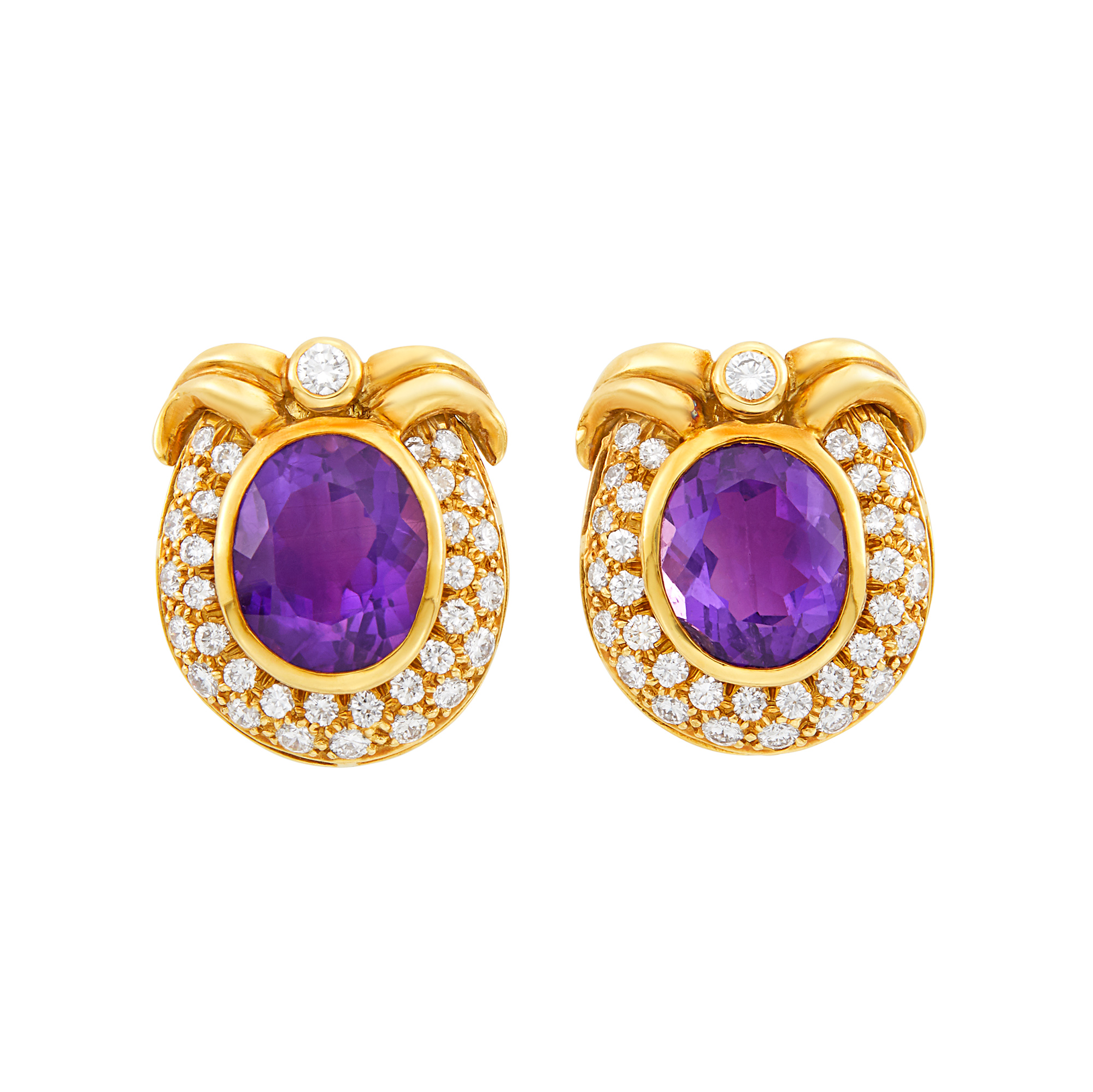 Lot image - Pair of Gold, Amethyst and Diamond Earclips