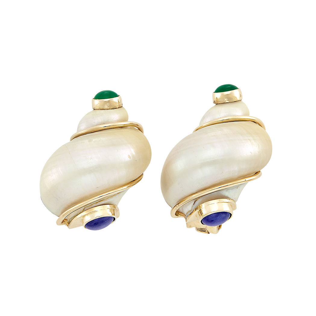 Lot image - Pair of Gold, Shell, Cabochon Sapphire and Dyed Green Chalcedony Earclips, Seaman Schepps