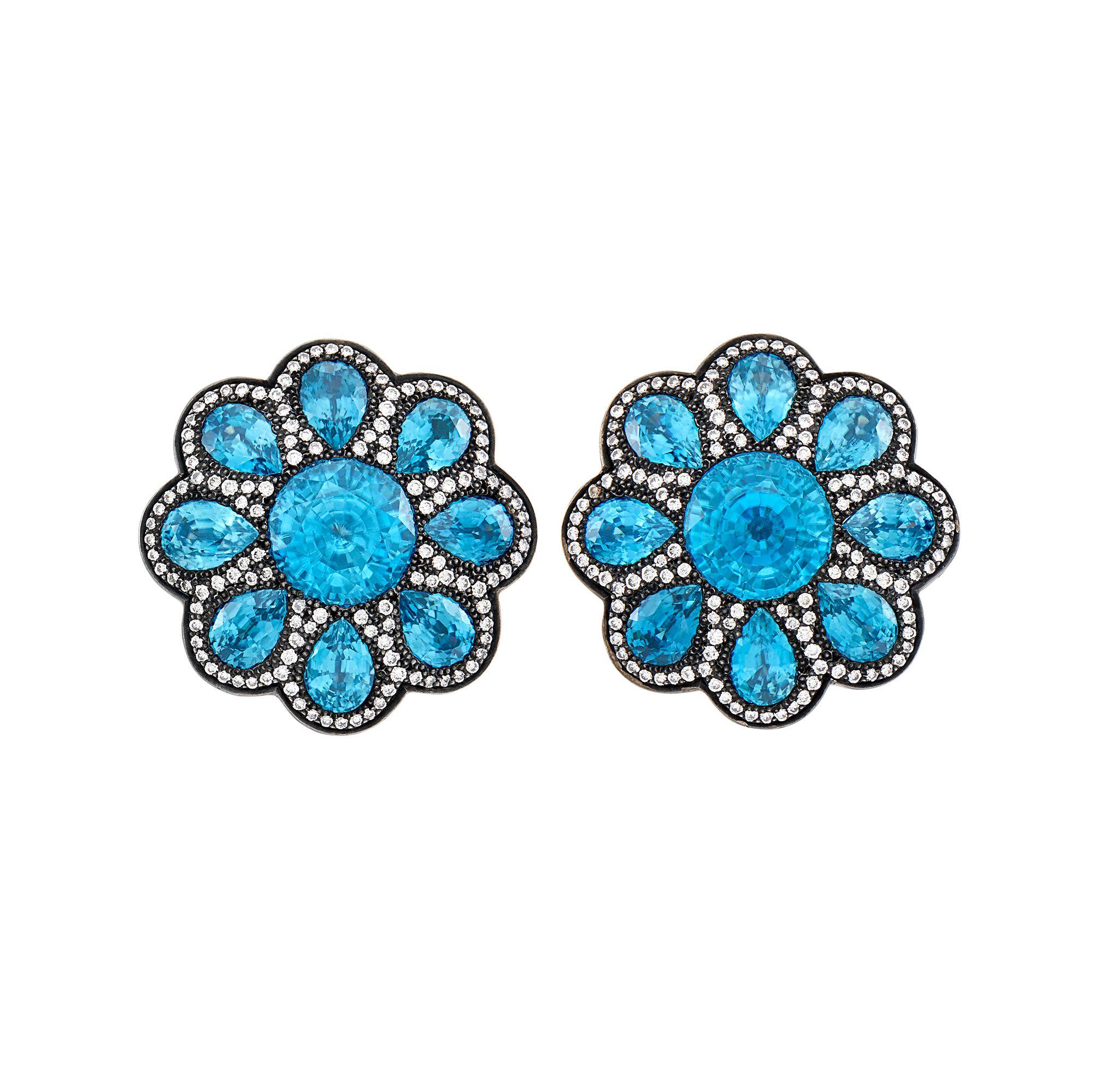 Lot image - Haume Pair of Blackened Gold, Blue Zircon and Diamond Flower Earclips