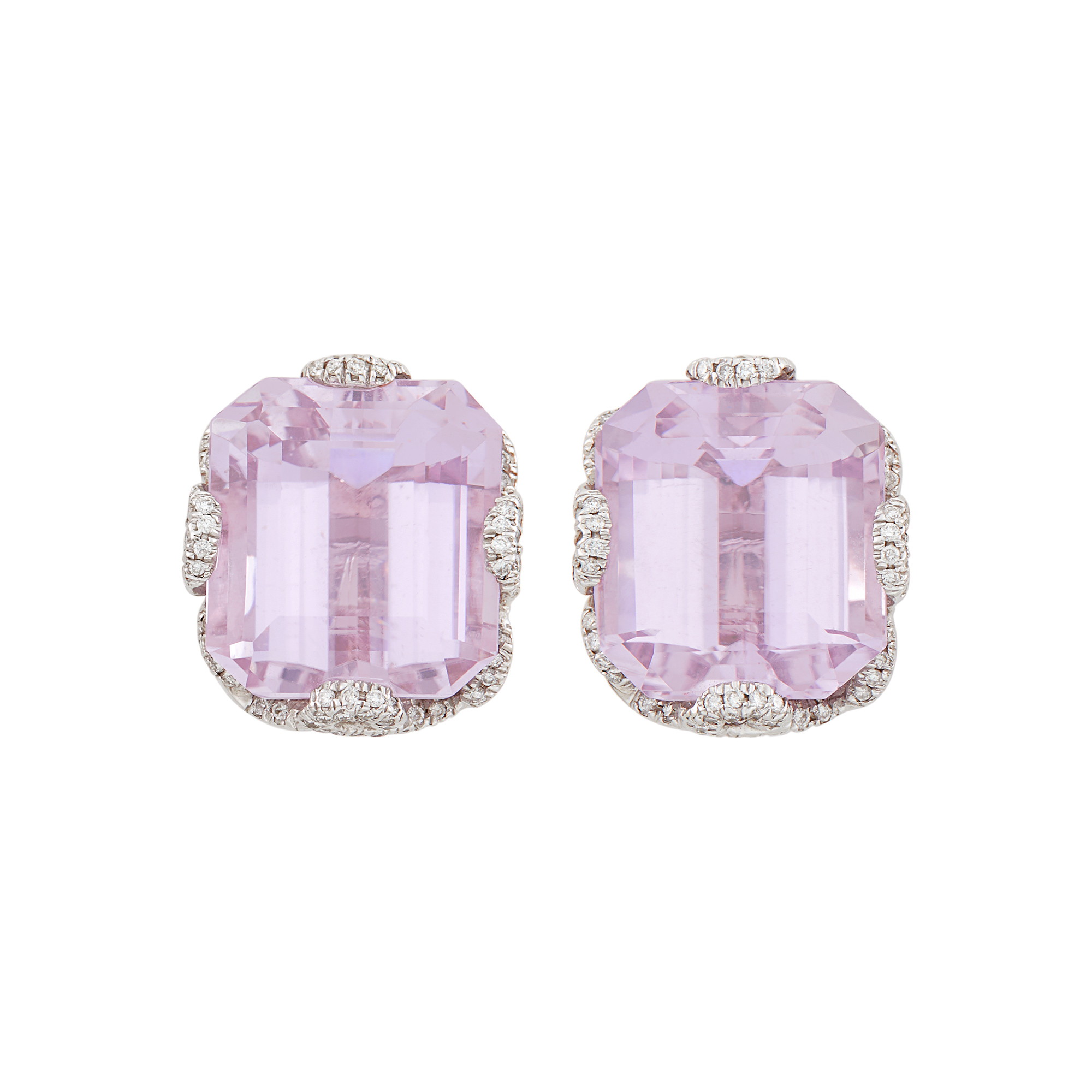 Lot image - Pair of White Gold, Kunzite and Diamond Earclips