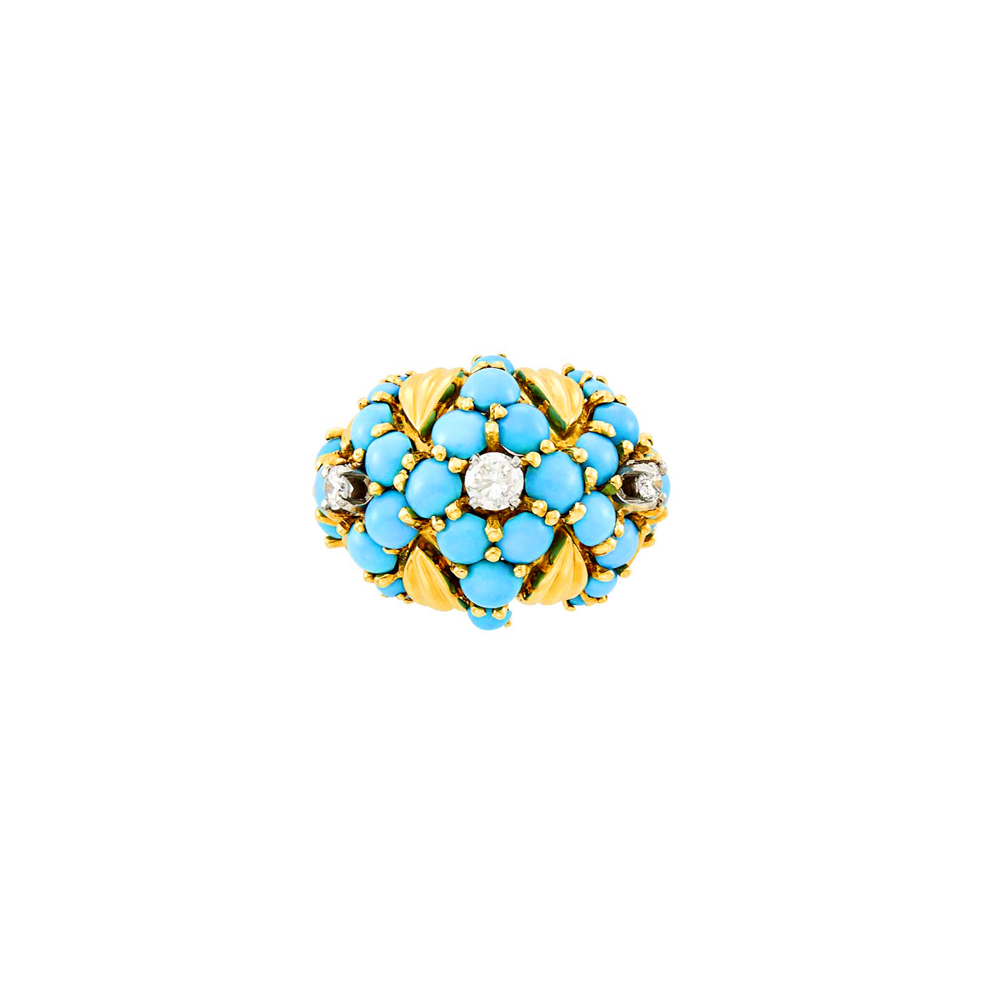 Lot image - Gold, Turquoise and Diamond Bombé Ring