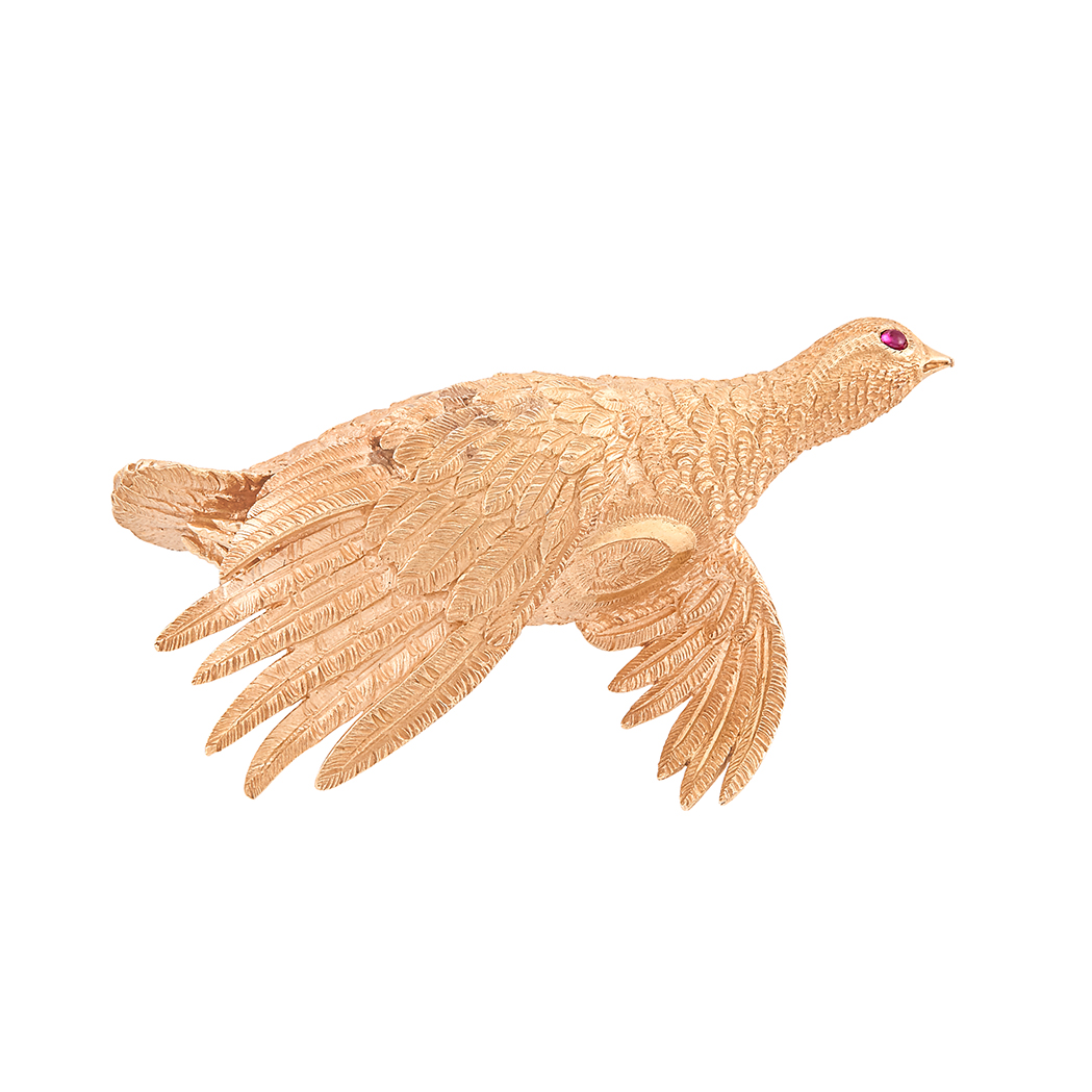 Lot image - Rose Gold Bird Clip-Brooch, Hermès, Paris