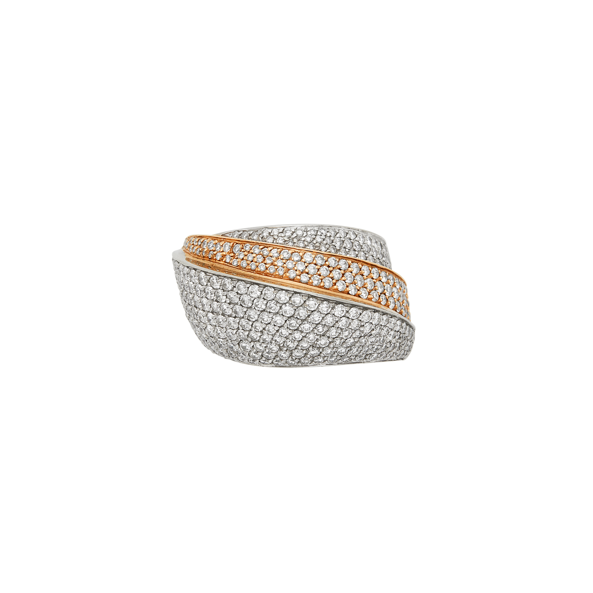 Lot image - Two-Color Gold and Diamond Dome Ring